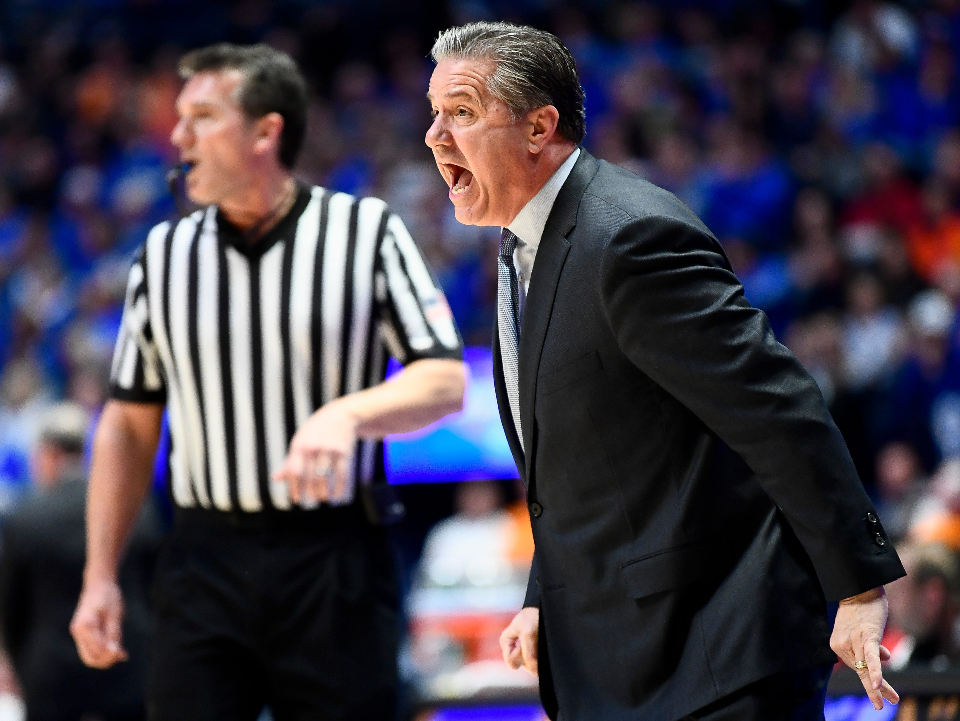 Kentucky head coach John Calipari reacts during the first half of the SEC Men's Basketball Tournament semifinal game against Tennessee at Bridgestone Arena in Nashville, Tenn., Saturday, March 16, 2019.