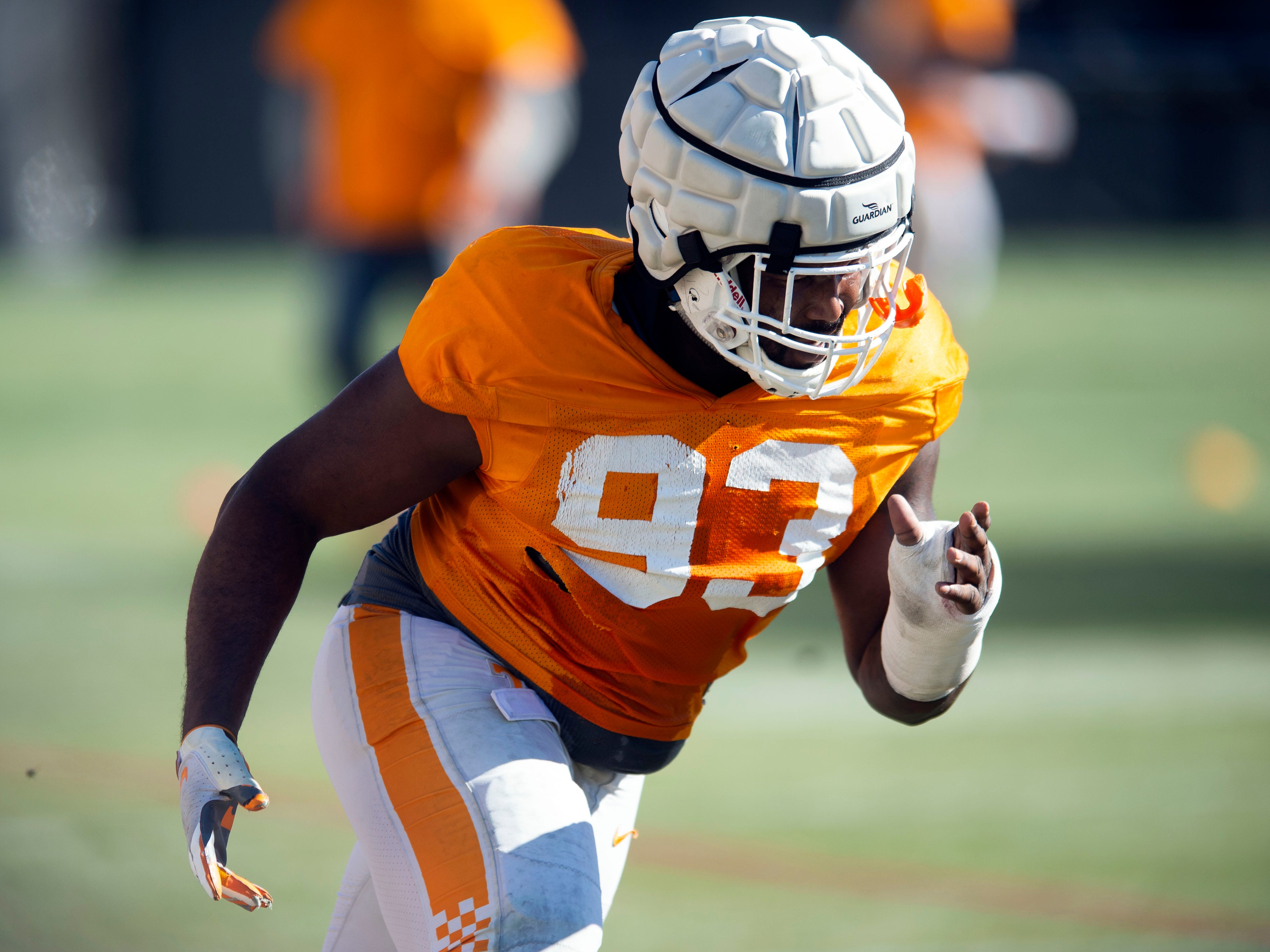Tennessee defensive lineman Emmit Gooden (93)  during football practice on Friday, March 15, 2019.