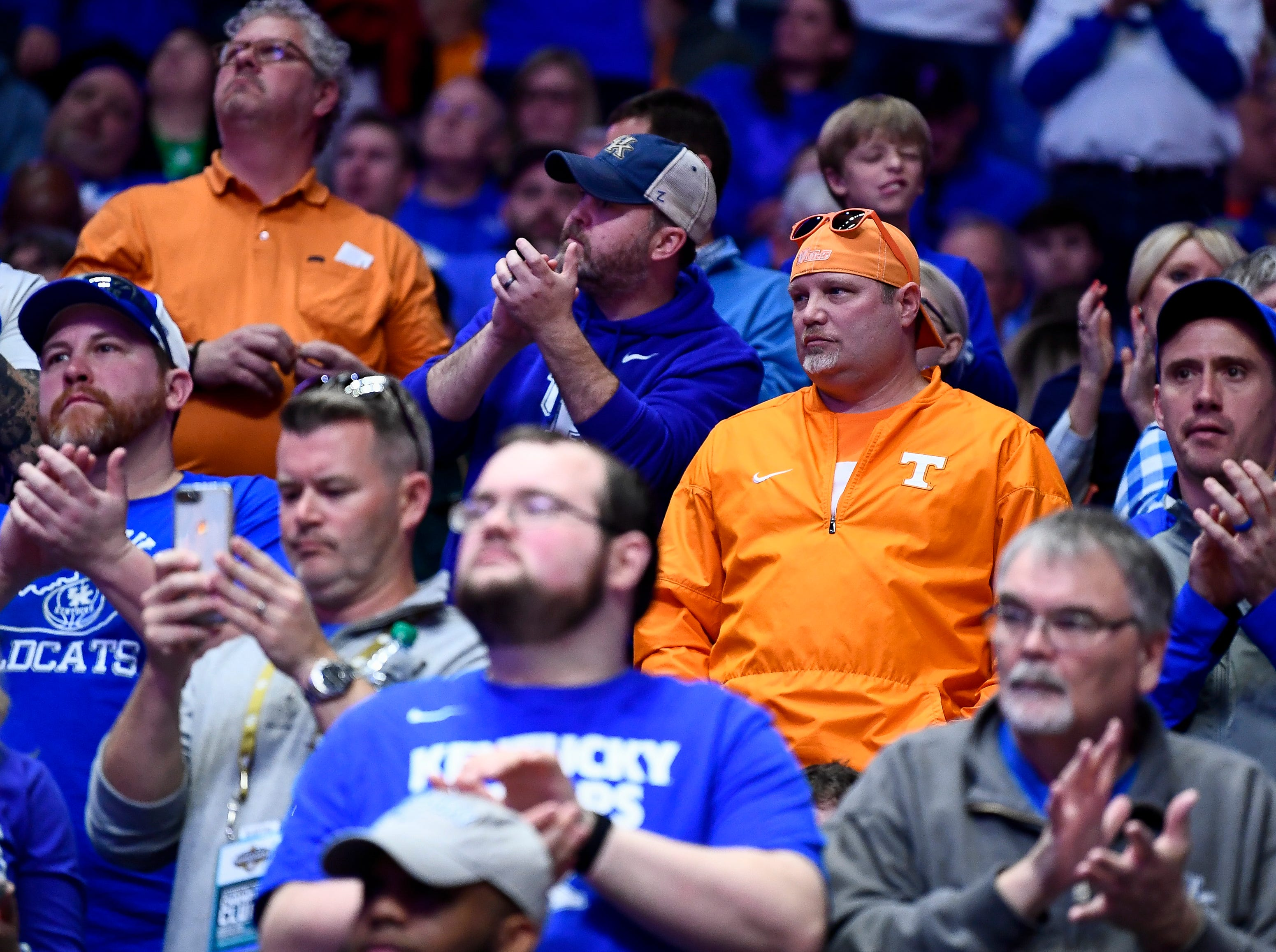Kentucky and Tennessee fans watch the first half of the SEC Men's Basketball Tournament semifinal game at Bridgestone Arena in Nashville, Tenn., Saturday, March 16, 2019.