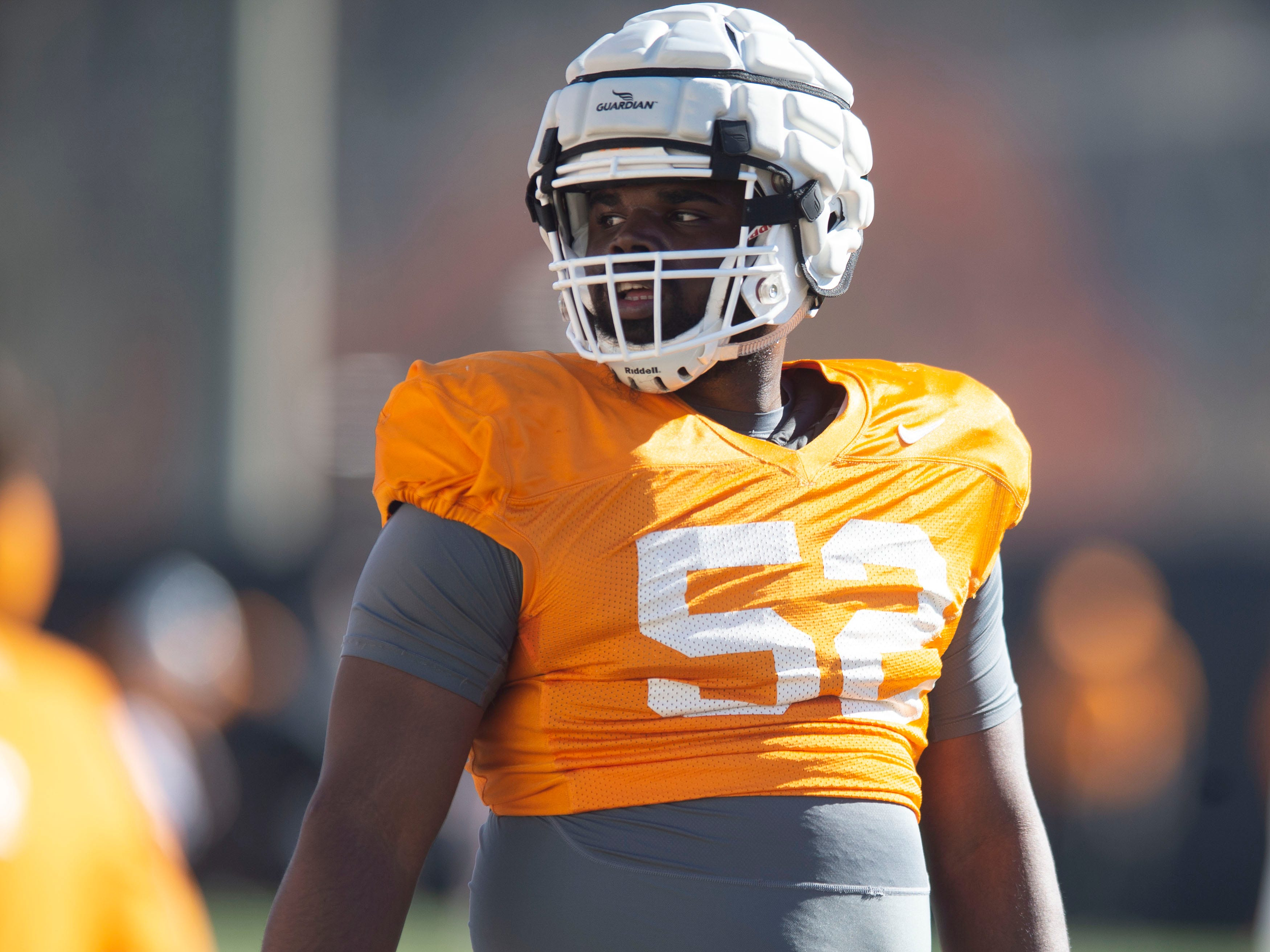 Tennessee defensive lineman Maurese Smith (52) during football practice on Friday, March 15, 2019.