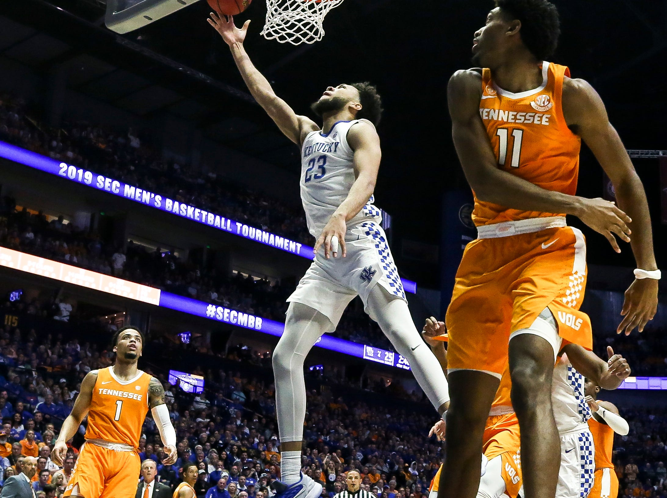 Kentucky forward EJ Montgomery (23) shoots against Tennessee during the first half of the SEC Men's Basketball Tournament semifinal game at Bridgestone Arena in Nashville, Tenn., Saturday, March 16, 2019.
