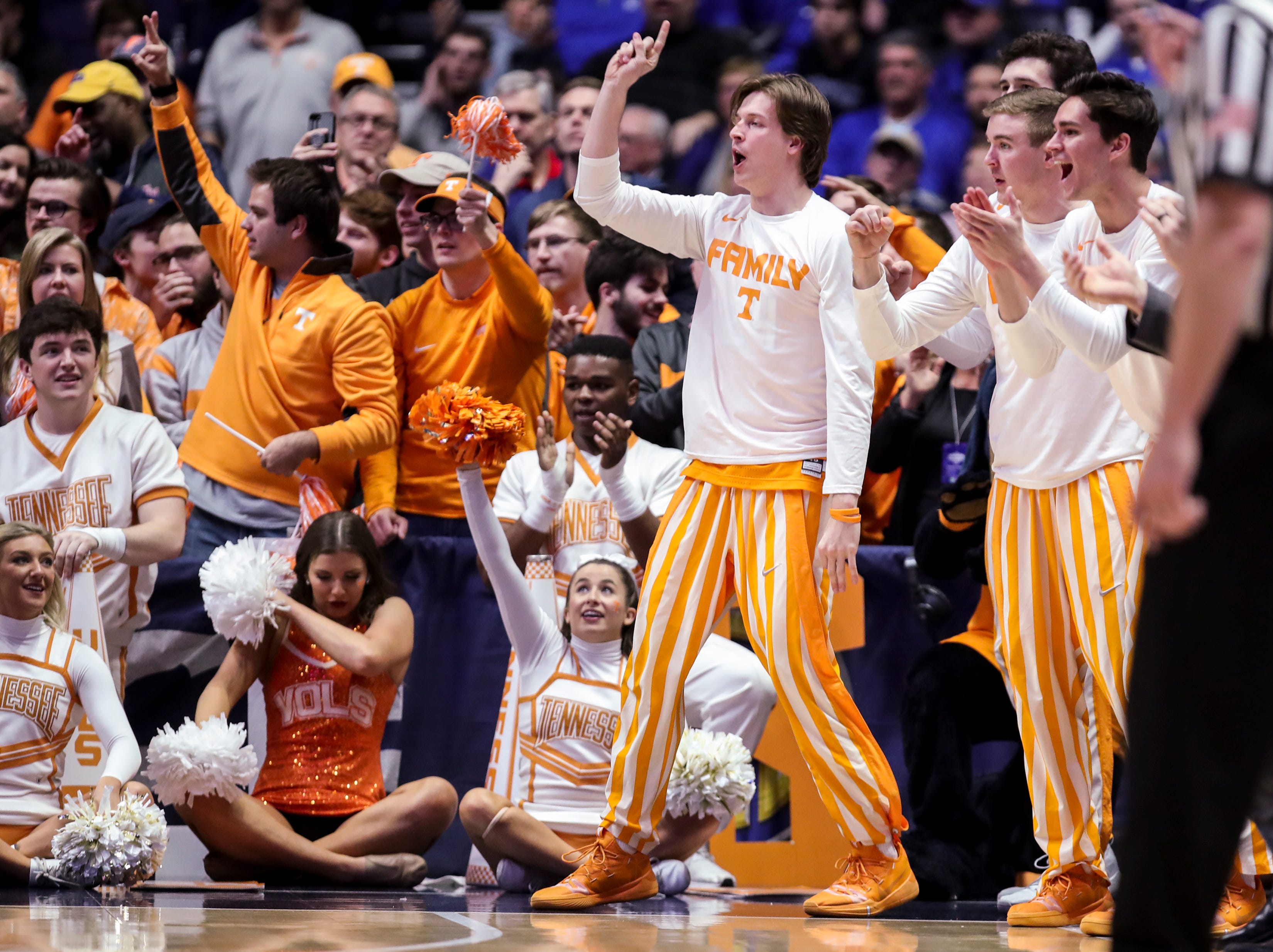 The Tennessee bench reacts during the second half of the SEC Men's Basketball Tournament semifinal game against Kentucky at Bridgestone Arena in Nashville, Tenn., Saturday, March 16, 2019.