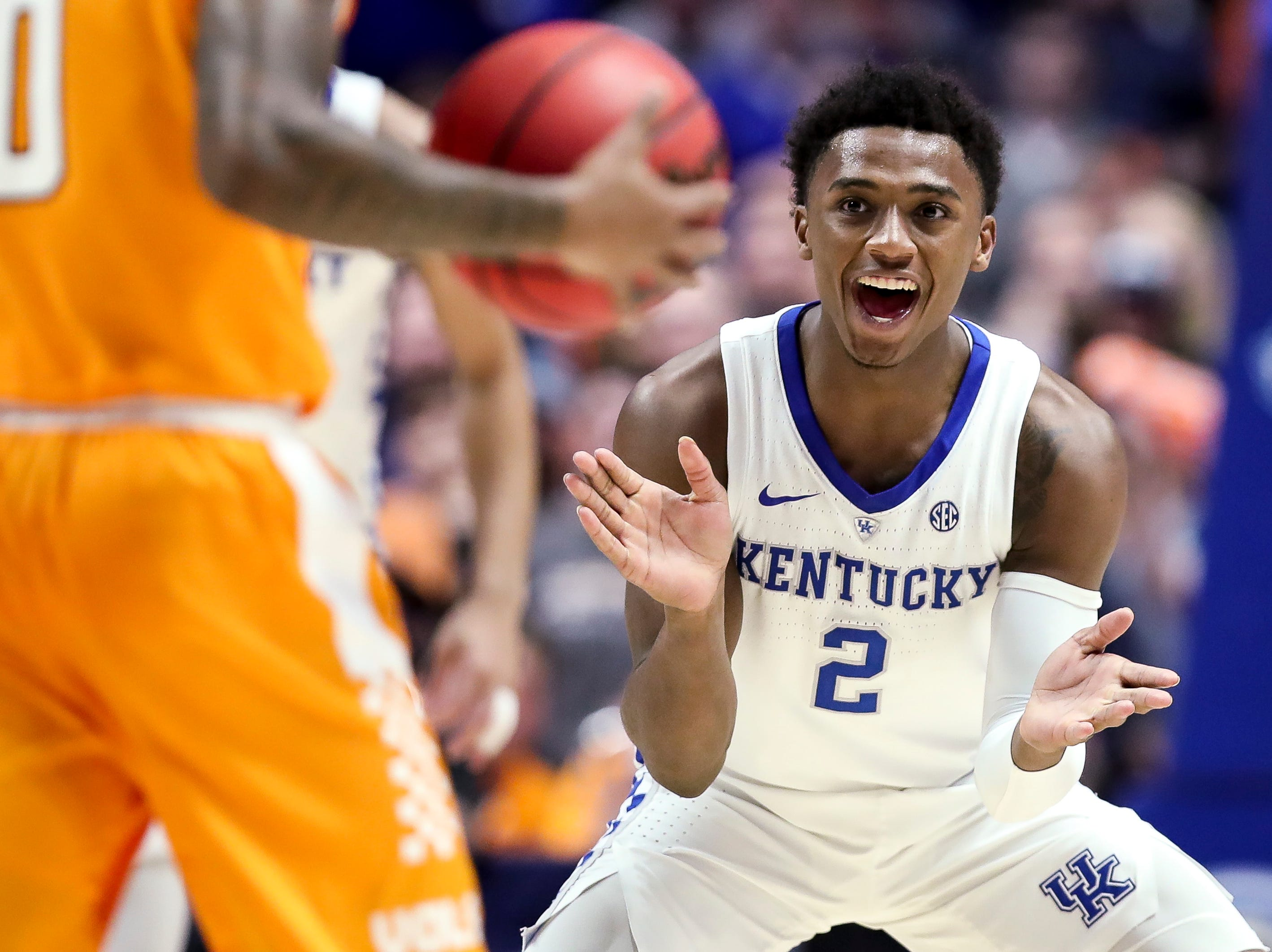 Kentucky guard Ashton Hagans (2) reacts during the second half of the SEC Men's Basketball Tournament semifinal game against Tennessee at Bridgestone Arena in Nashville, Tenn., Saturday, March 16, 2019.