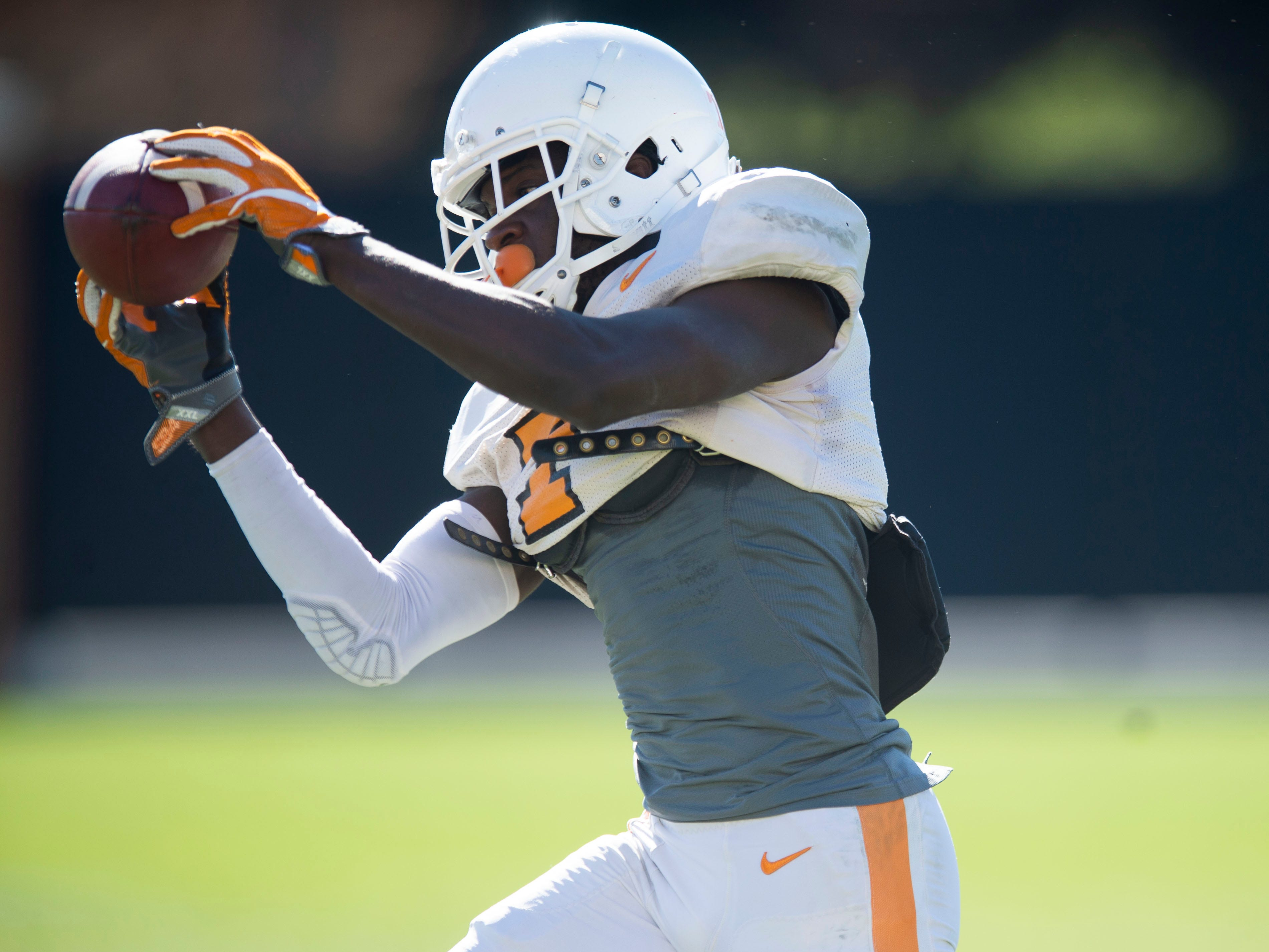 Tennessee wide receiver Brandon Johnson (7) during  practice on Friday, March 15, 2019.