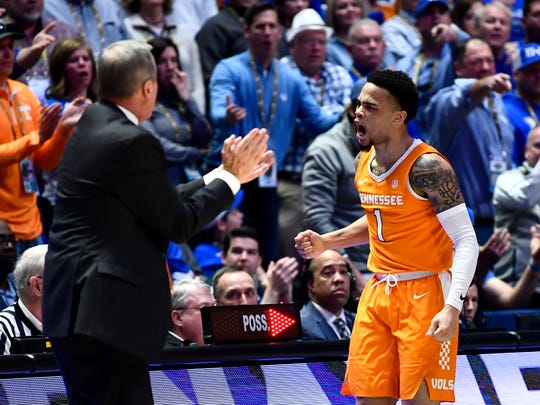 Tennessee guard Lamonte Turner (1) celebrates a call made against Kentucky in the last minute of Tennessee's game against Kentucky in the SEC Tournament held at Bridgestone Arena in Nashville on Saturday, March 16, 2019.