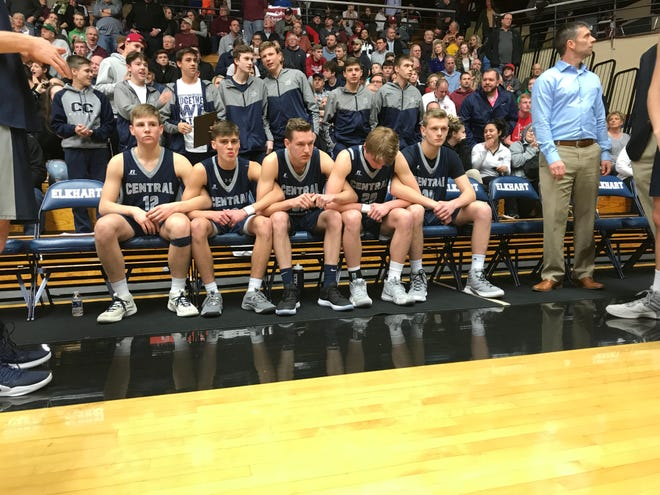 Central Catholic's starters wait to be introduced prior to Saturday's Class A North semistate.