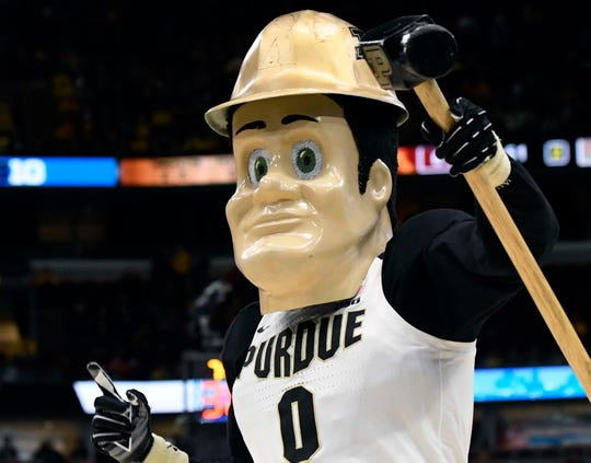 Mar 15, 2019; Chicago, IL, USA; The Purdue Boilermakers mascot performs during the second half in the Big Ten conference tournament at United Center. Mandatory Credit: David Banks-USA TODAY Sports