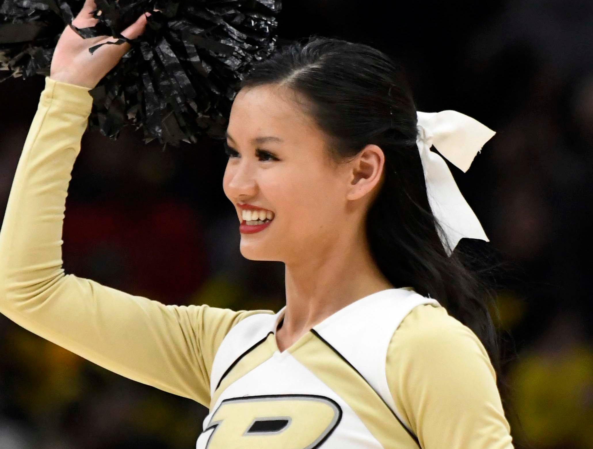 Mar 15, 2019; Chicago, IL, USA; A Purdue Boilermakers cheerleader performs during the second half in the Big Ten conference tournament at United Center. Mandatory Credit: David Banks-USA TODAY Sports