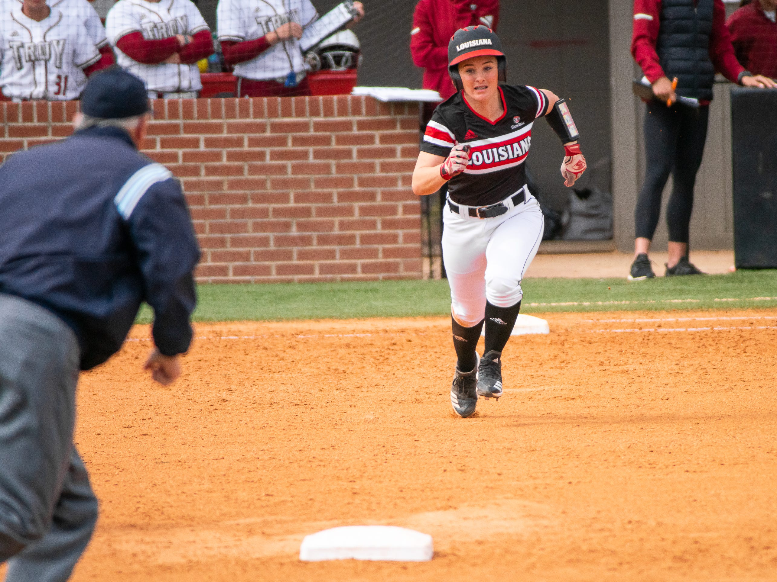 UL's Keeli Milligan sprints to second base as the Ragin' Cajuns take on the Troy Trojans at Yvette Girouard Field at Lamson Park on Saturday, March 16, 2019.