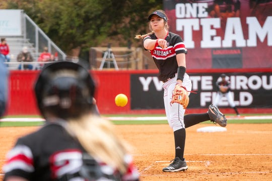 UL's Summer Ellyson pitches the ball to the batter as the Ragin' Cajuns take on the Troy Trojans at Yvette Girouard Field at Lamson Park on Saturday, March 16, 2019.