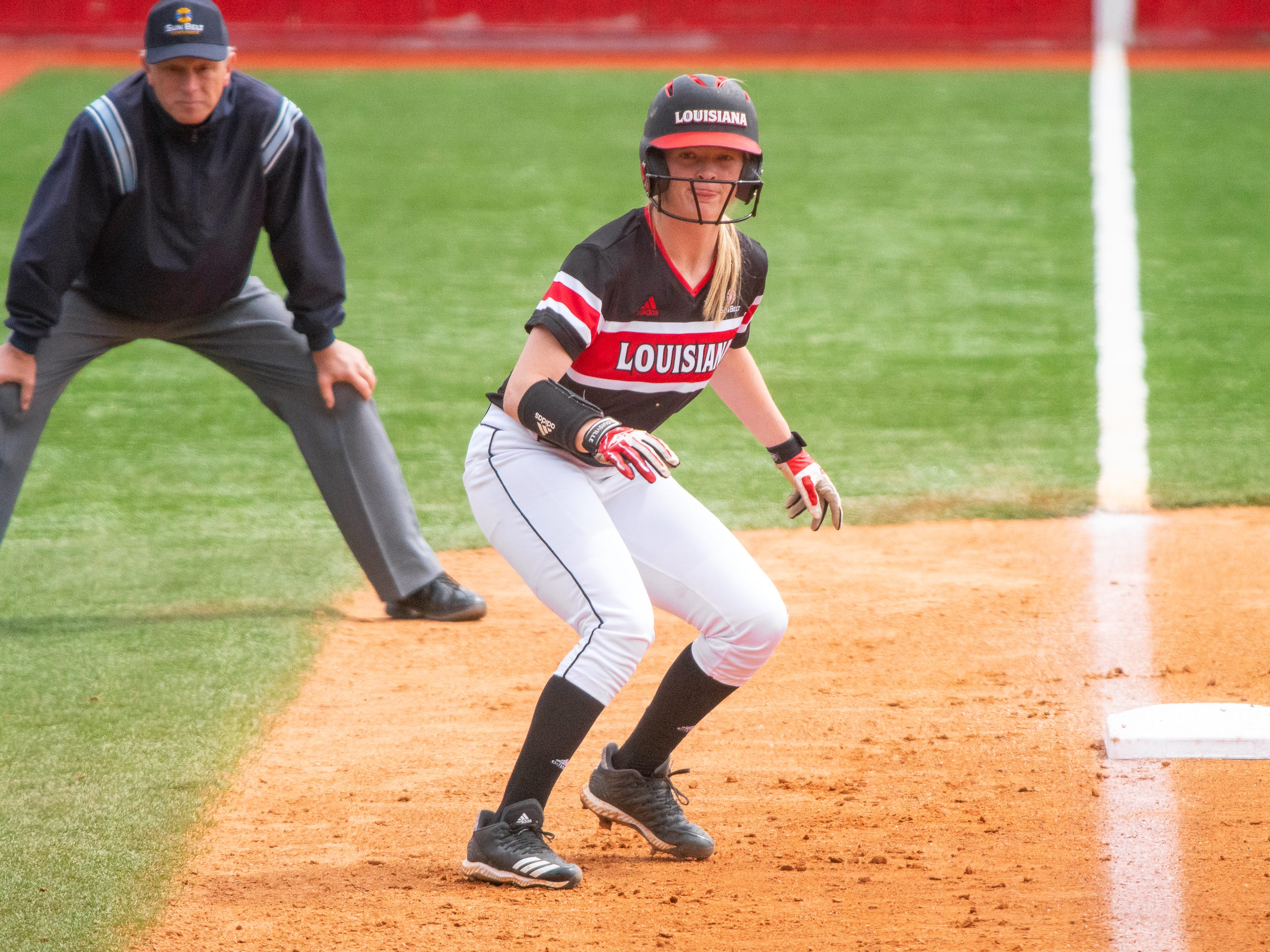 UL's Julie Rawls prepares to run to home plate as the Ragin' Cajuns take on the Troy Trojans at Yvette Girouard Field at Lamson Park on Saturday, March 16, 2019.