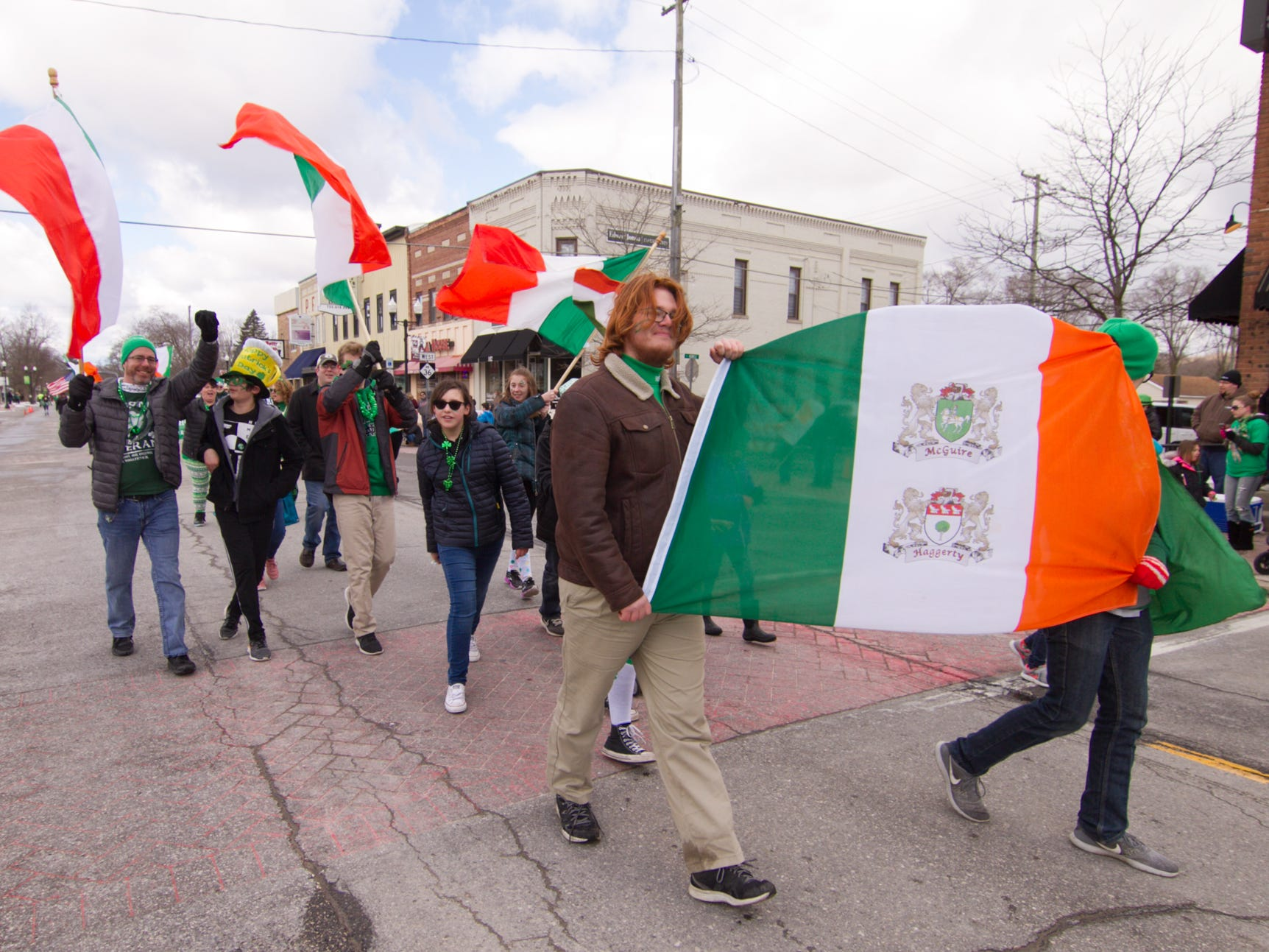 Members of the McGuire/Haggerty family are perennial participants, walking in the St. Patrick's Day parade Saturday, March 16, 2019.