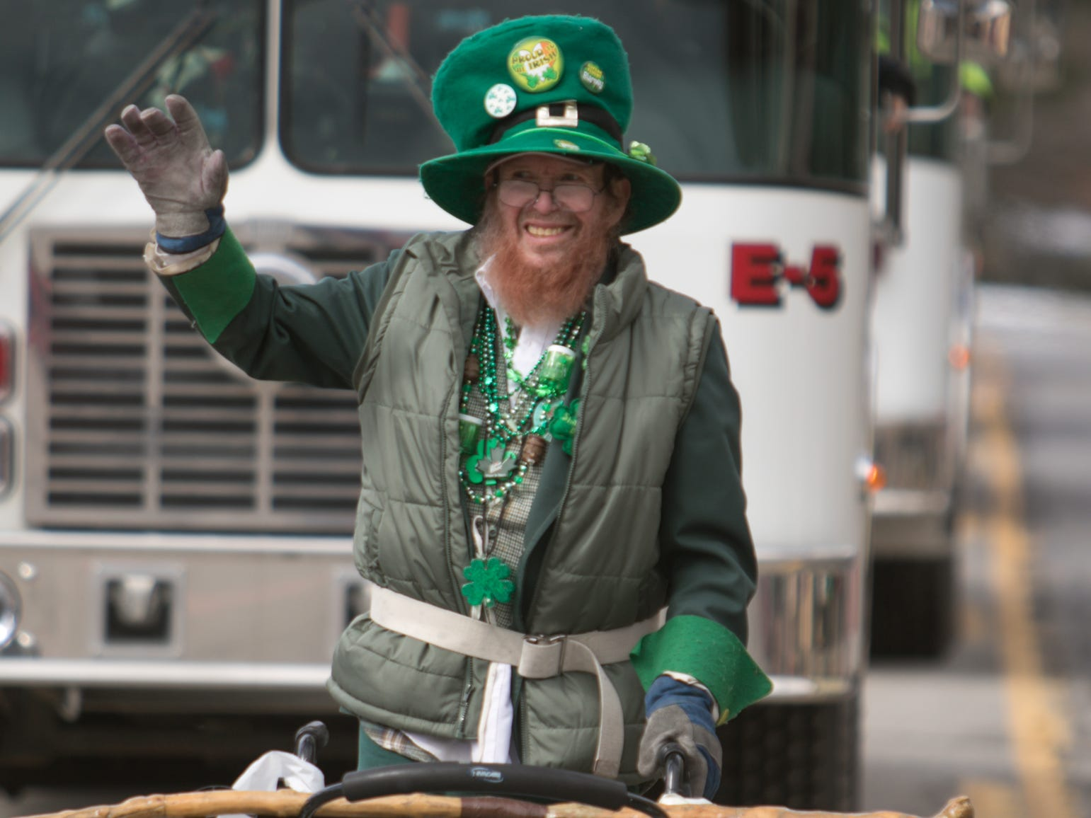 "Despite suffering a massive heart attack earlier this year, Karl Burg makes his annual appearance walking in the St. Patrick's Day parade Saturday, March 16, 2019, as he has every year it's been held. Says Burg about his longevity, ""I'll be the one in heaven letting them in."""