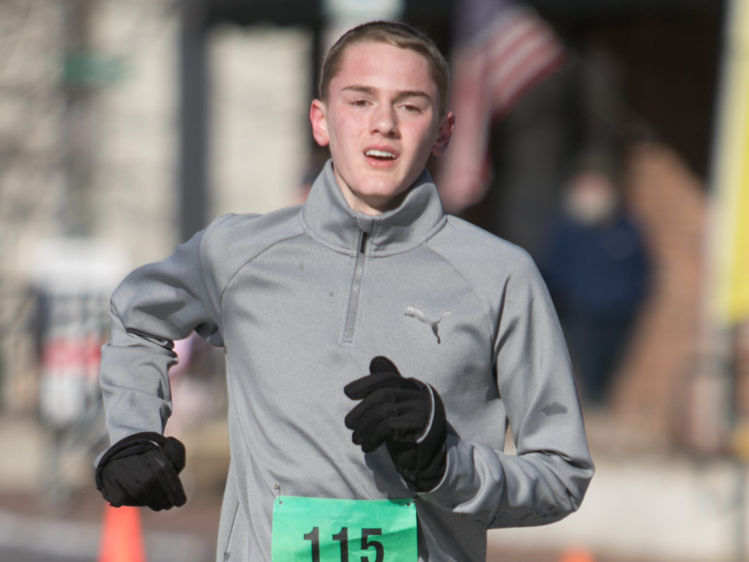 15-year-old Hartland High School freshman Riley Hough was the first overall finisher in the Run for the Gold 5k Saturday, March 16, 2019, with a time of 17 minutes, 3.6 seconds.