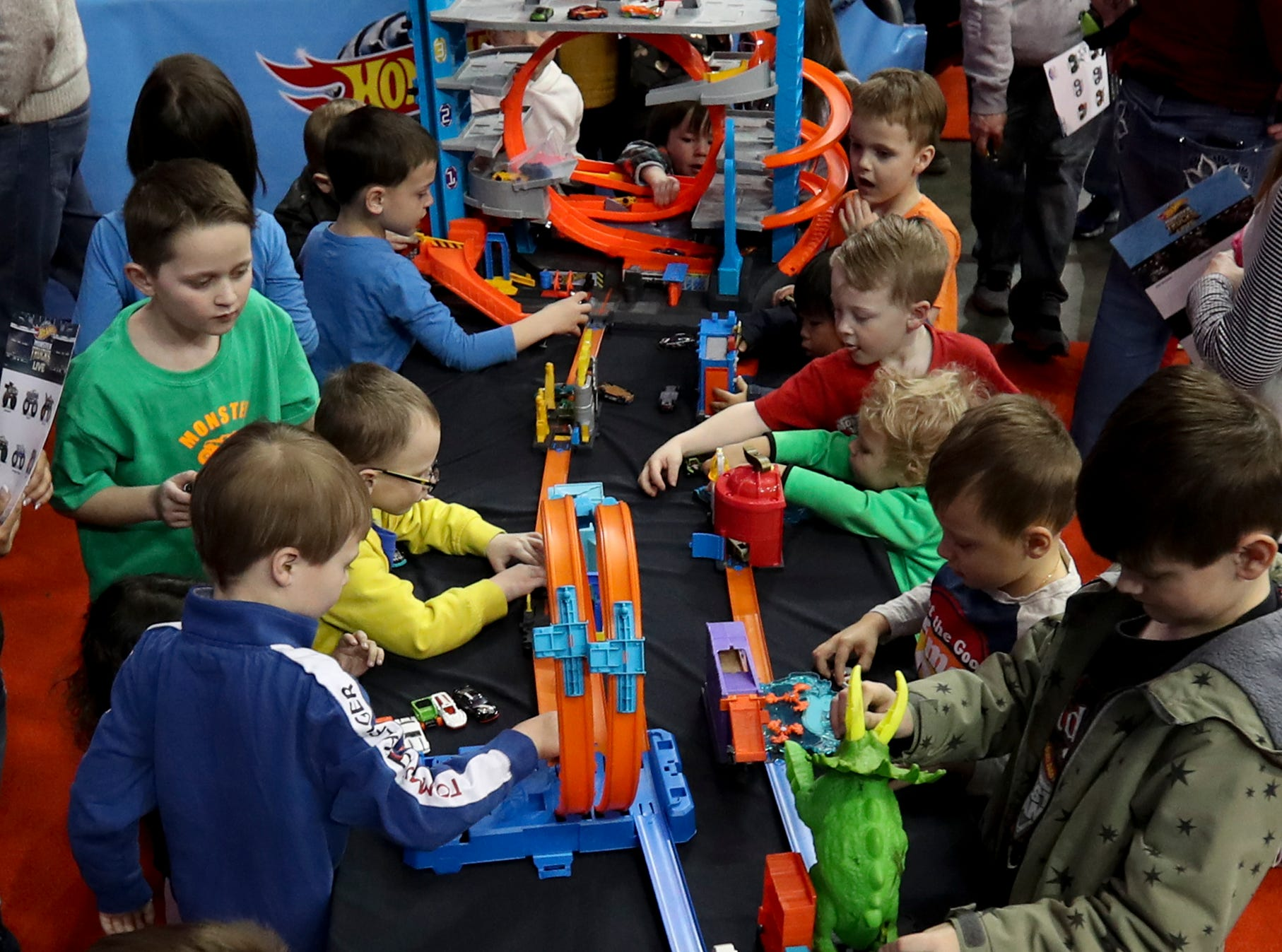 The Crash Zone Party let kids get some hands-on time with toys and the ability to get up close and personal with the trucks and their drivers before the Hot Wheels Monster Trucks show at the KFC Yum Center on March 16.