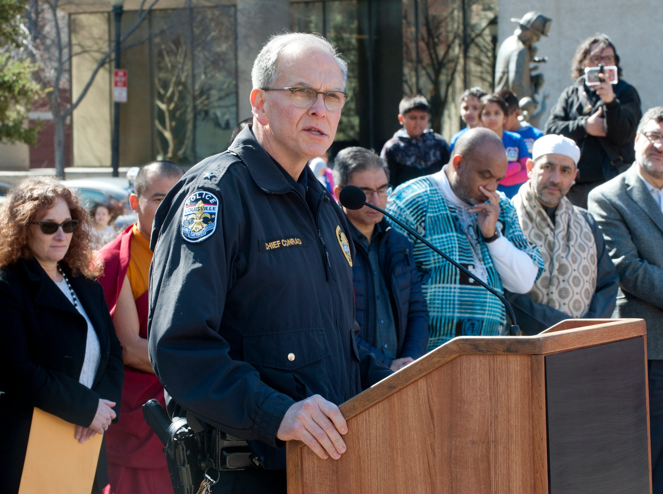 Louisville Metro Police Chief Steve Conrad speaks at the vigil.