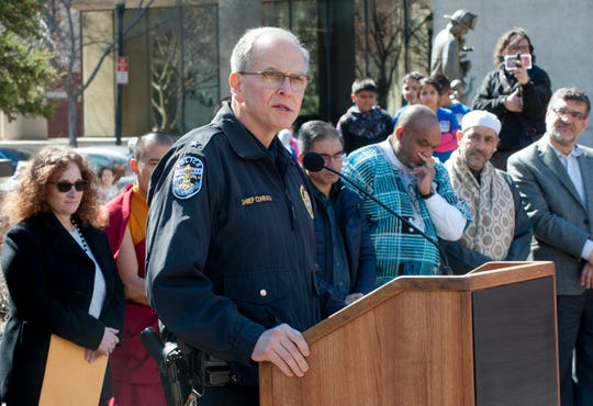Louisville Metro Police Chief Steve Conrad speaks at the vigil.16 March 2019