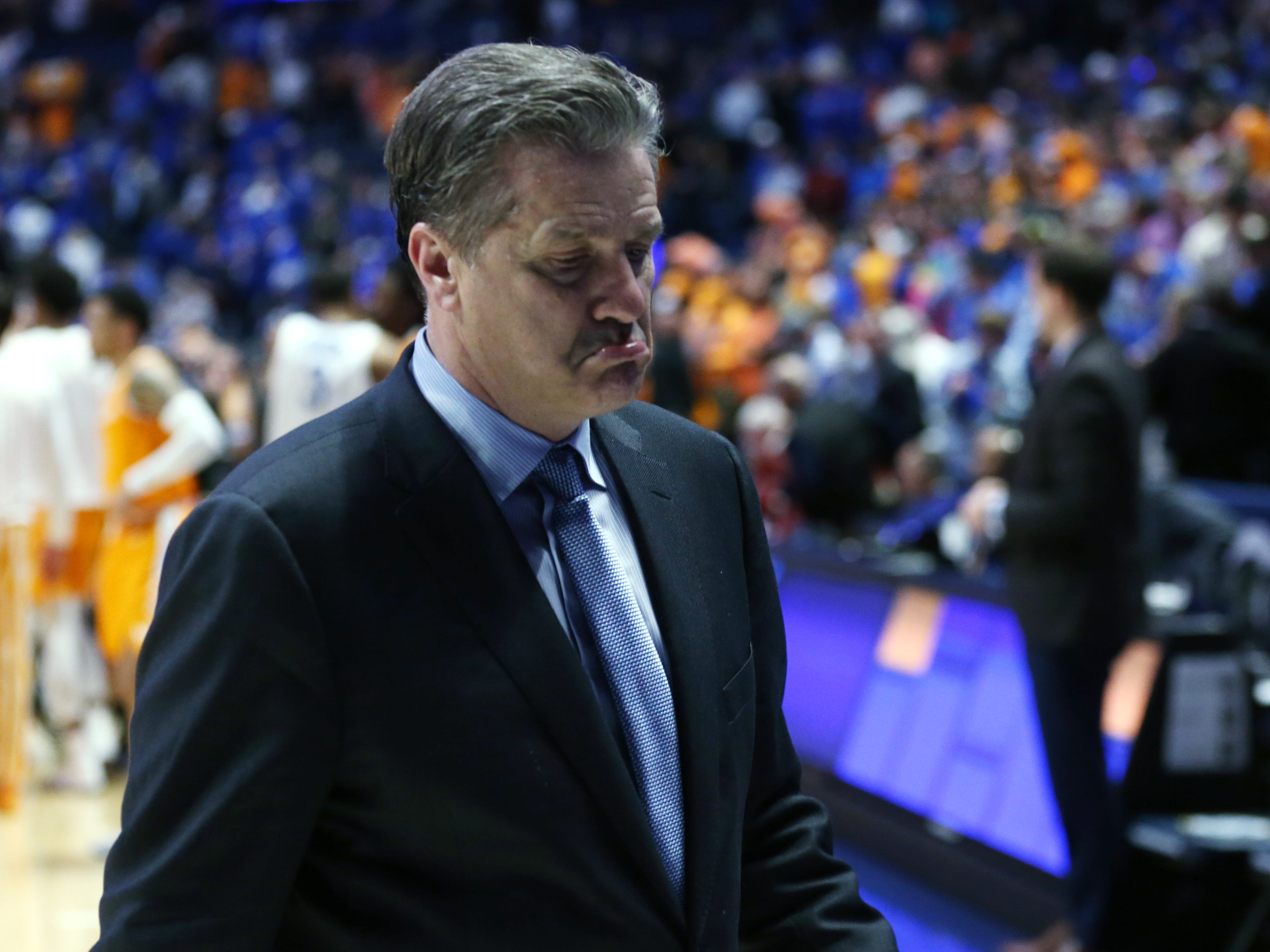 Kentucky head coach John Calipari walks off the court after his team's loss to Tennessee in the SEC Men's Basketball Tournament at Bridgestone Arena in Nashville, Tenn., Saturday, March 16, 2019.