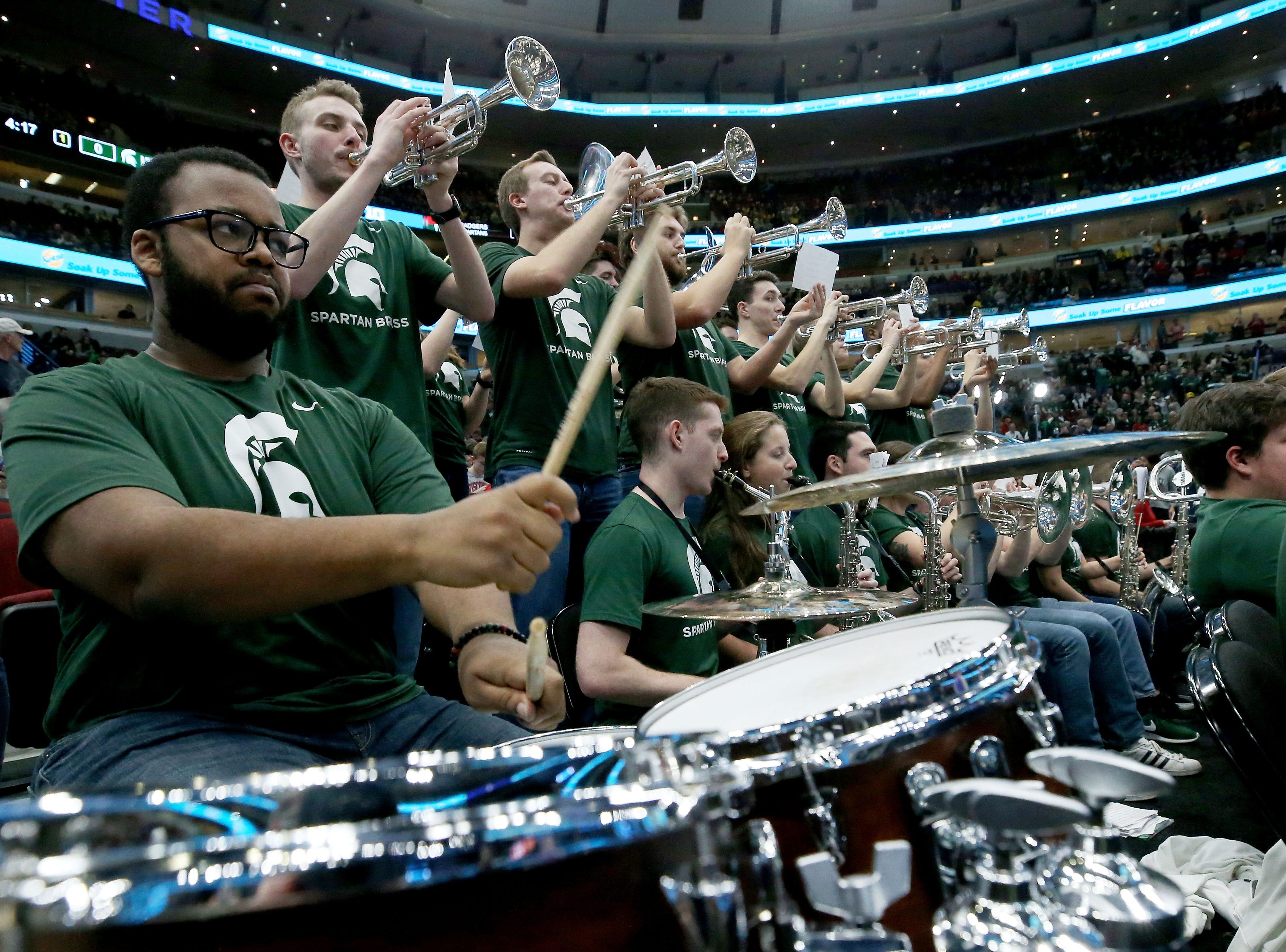 The Michigan State Spartans pep band performs during the semifinals of the Big Ten Basketball Tournament at the United Center on March 16, 2019 in Chicago, Illinois.
