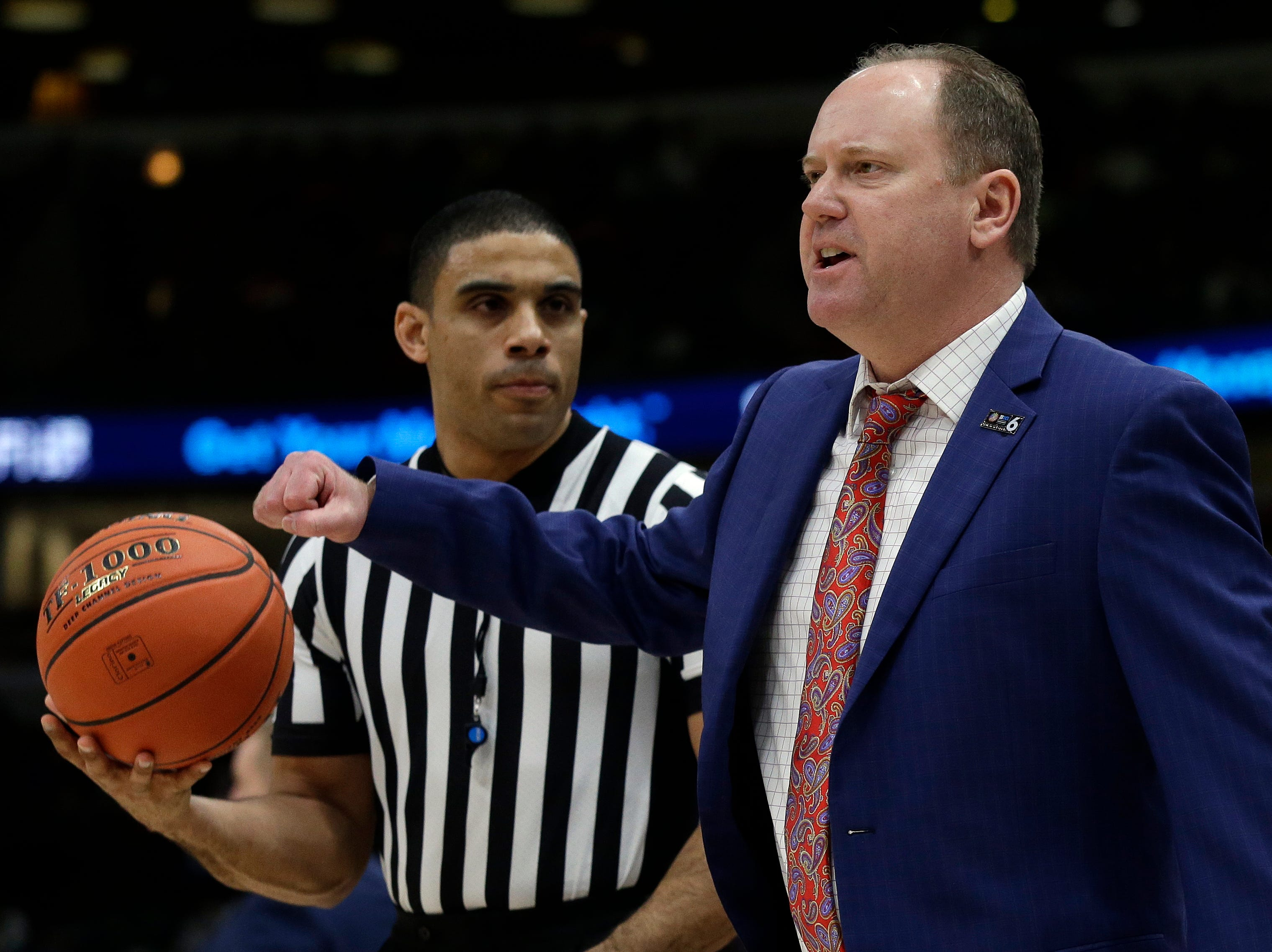 Wisconsin head coach Greg Gard argues a call during the first half of an NCAA college basketball game against Michigan State in the semifinals of the Big Ten Conference tournament, Saturday, March 16, 2019, in Chicago.