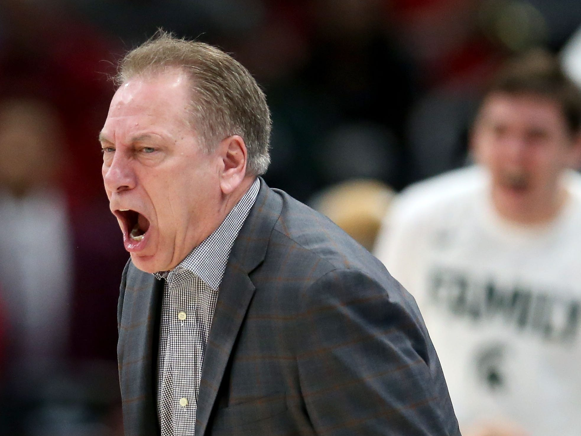 Head coach Tom Izzo of the Michigan State Spartans reacts in the first half against the Wisconsin Badgers during the semifinals of the Big Ten Basketball Tournament at the United Center on March 16, 2019 in Chicago, Illinois.