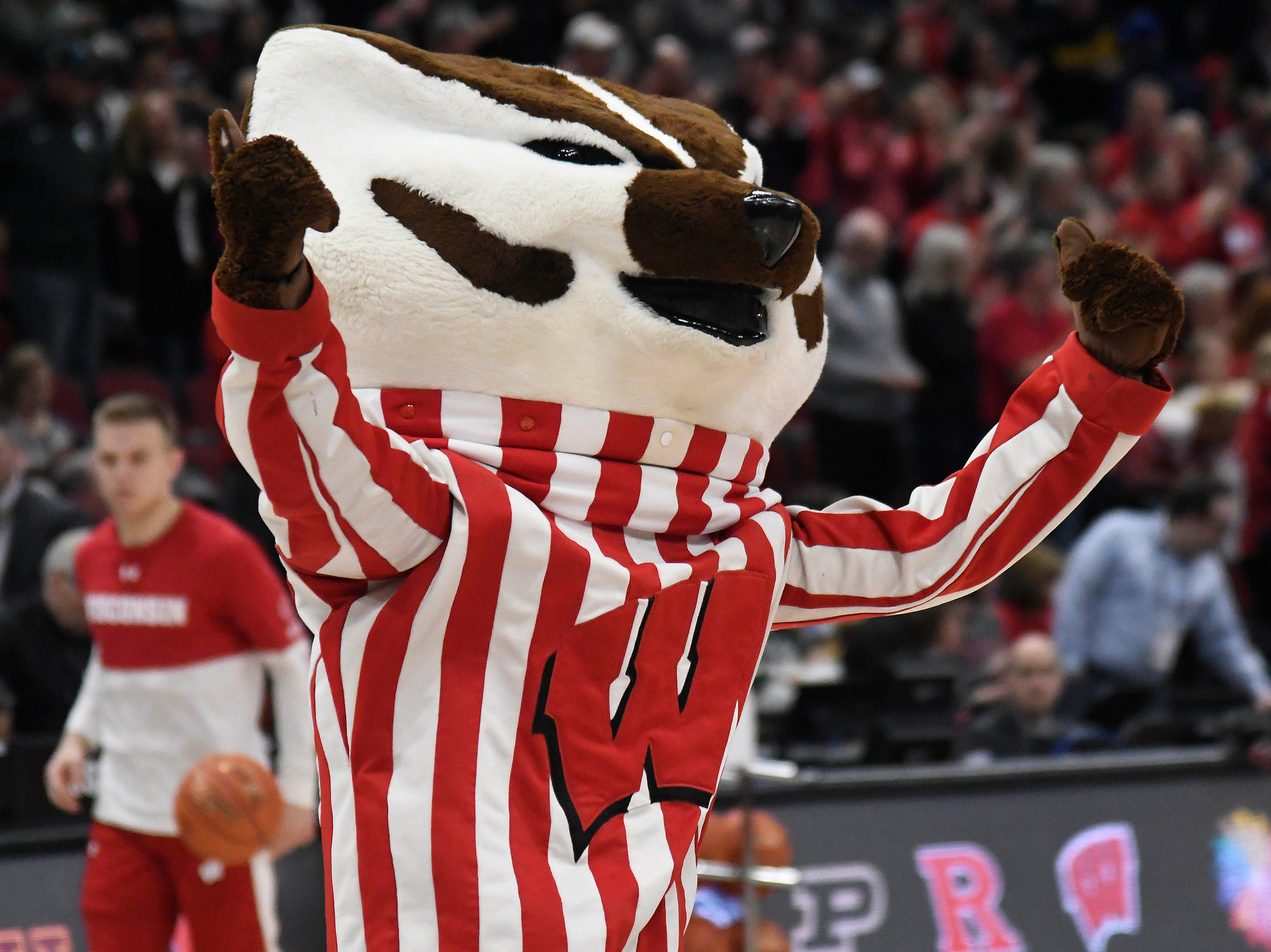 """Wisconsin Badgers mascot """"Bucky Badger"""" performs during the first half in the Big Ten conference tournament at United Center."""