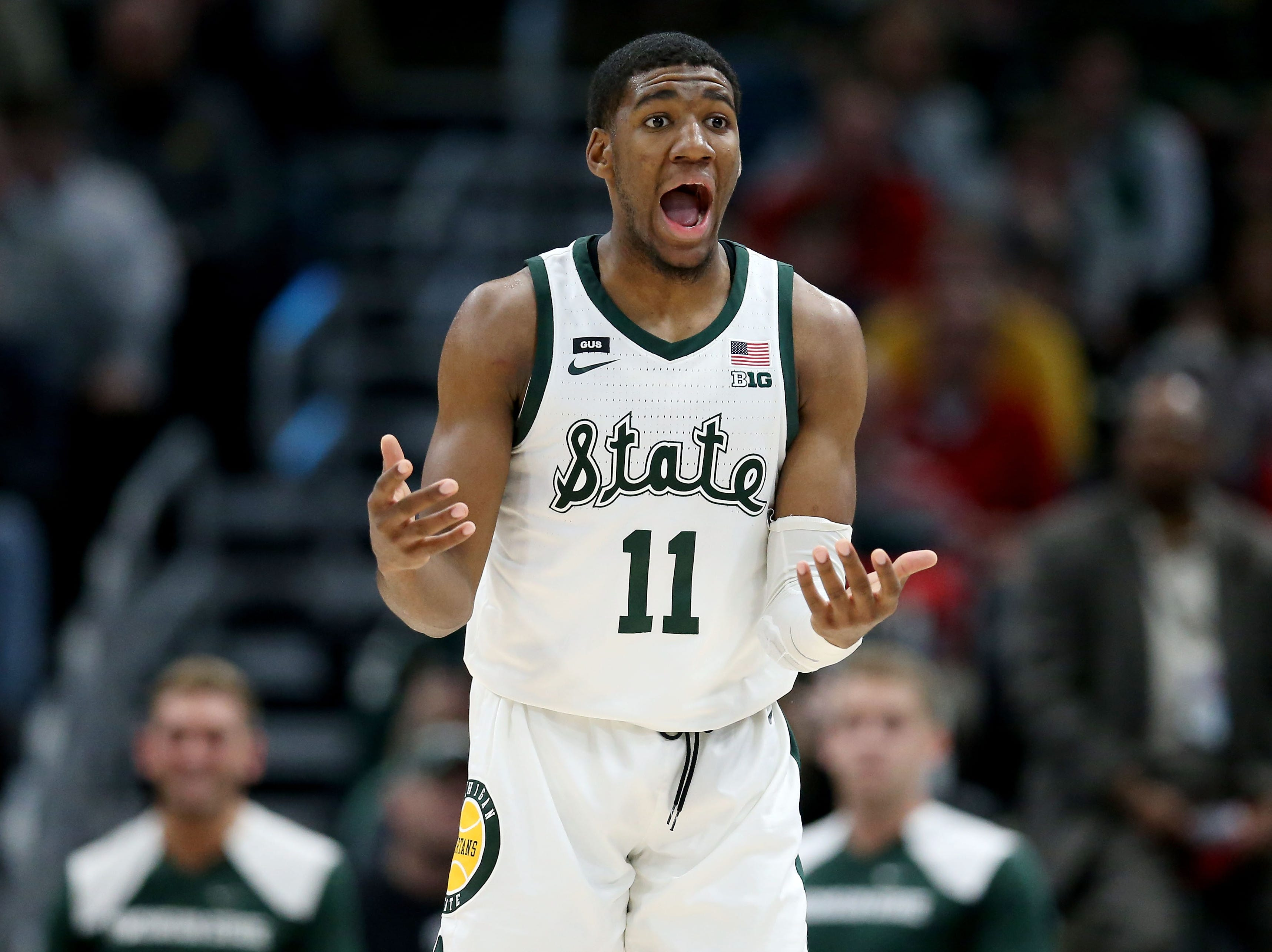 Aaron Henry #11 of the Michigan State Spartans reacts in the second half against the Wisconsin Badgers during the semifinals of the Big Ten Basketball Tournament at the United Center on March 16, 2019 in Chicago, Illinois.