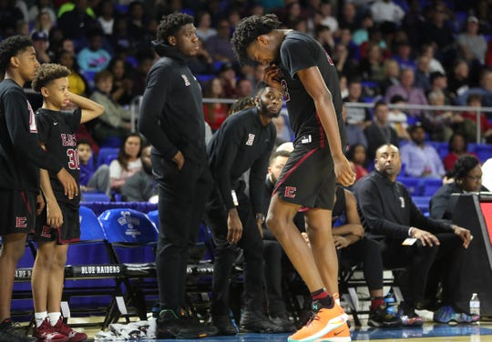 Memphis East's James Wiseman walks off the court after fouling out in their game against Bearden during the Class AAA boys basketball state championship at the Murphy Center in Murfreesboro, Tenn. on Saturday, March 16, 2019.