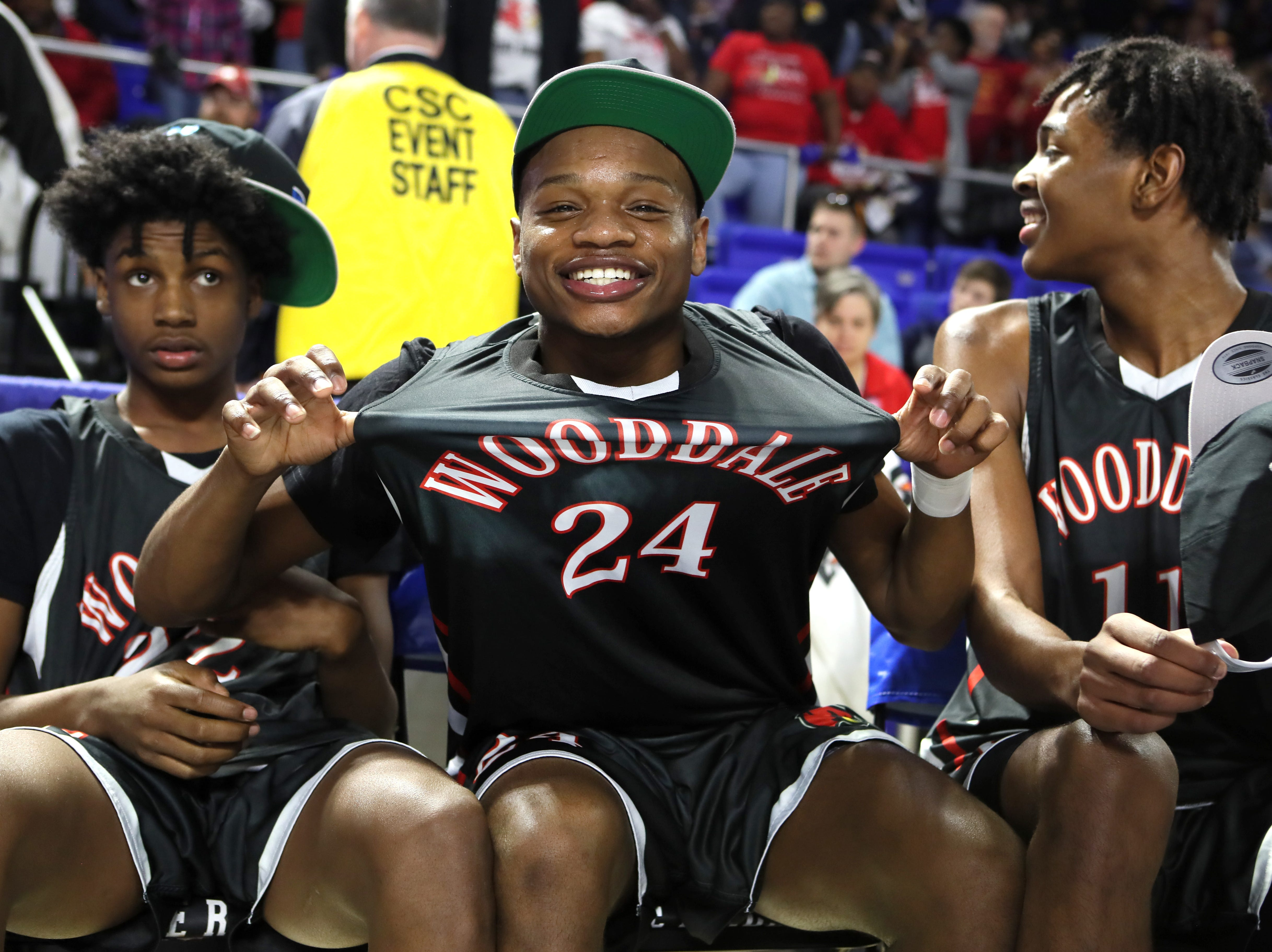 Wooddale's Tekevion Rounds celebrates their Class AA boys basketball state championship win over Fulton at the Murphy Center in Murfreesboro, Tenn. on Saturday, March 16, 2019.