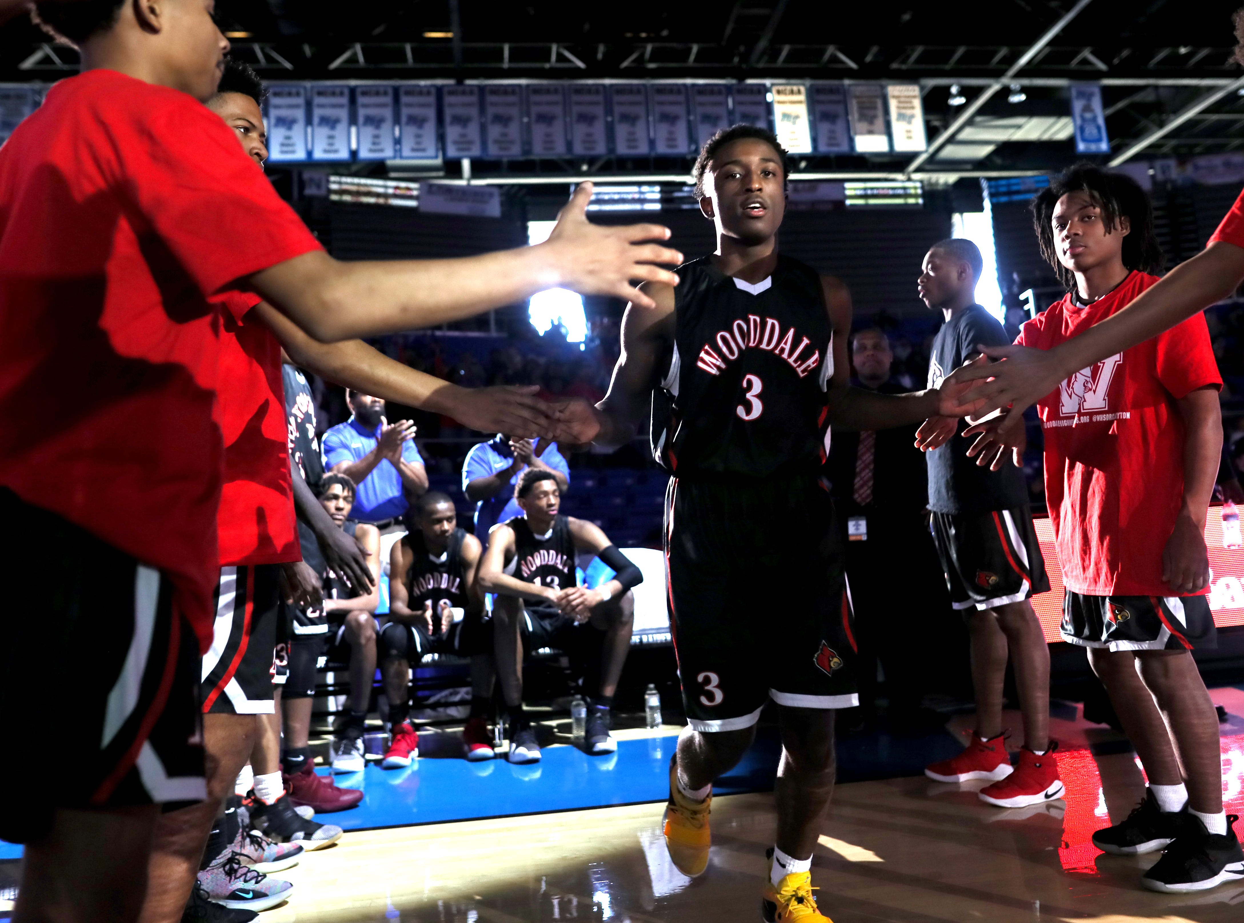 Wooddale's Alvin Miles is introduced before their game against Fulton during the Class AA boys basketball state championship game at the Murphy Center in Murfreesboro, Tenn. on Saturday, March 16, 2019.