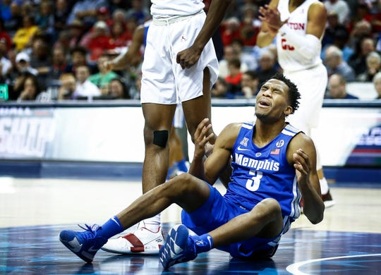 Memphis guard Jeremiah Martin reacts after not receiving a foul call against Houston during action in their semifinal round AAC Tournament game at the FedExForum, Saturday, March 16, 2019.