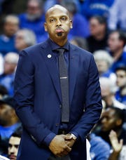 Memphis head coach Penny Hardaway looks on during a 61-58 loss to Houston in their semifinal round AAC Tournament game at the FedExForum, Saturday, March 16, 2019.