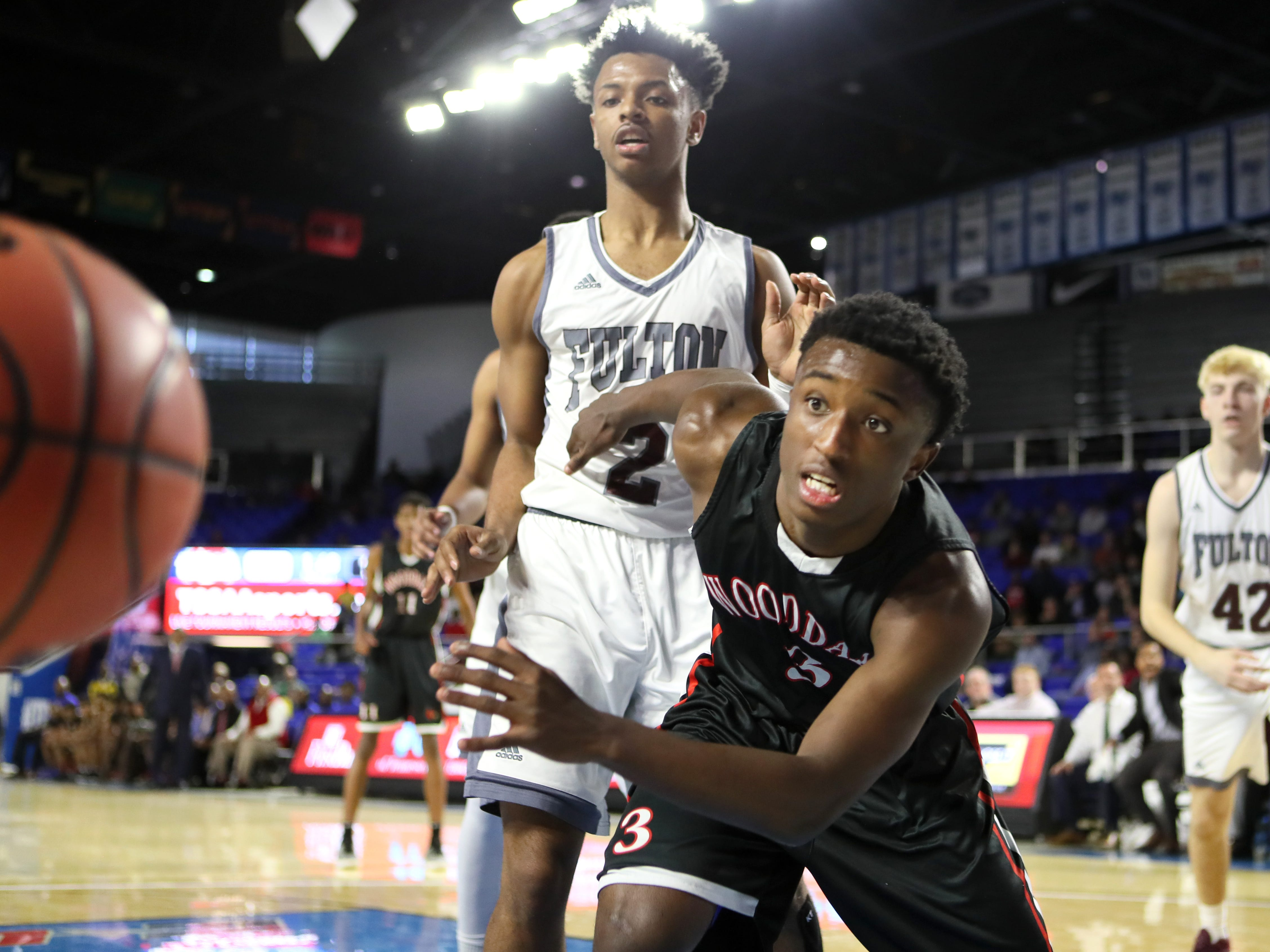 Wooddale's Alvin Miles watches as a ball slips out of bounds against Fulton during the Class AA boys basketball state championship game at the Murphy Center in Murfreesboro, Tenn. on Saturday, March 16, 2019.