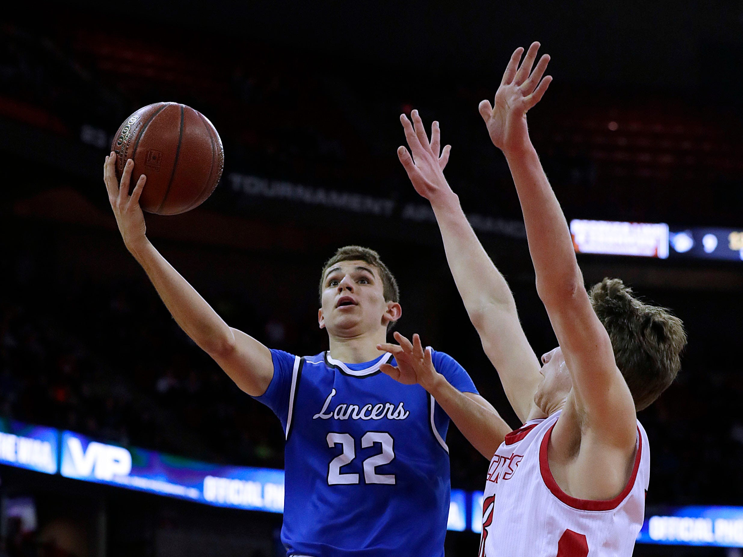 Brookfield Central's Ben Nau scores 10 points during a 61-47 victory over Neenah in the WIAA Division 1 semifinal game.