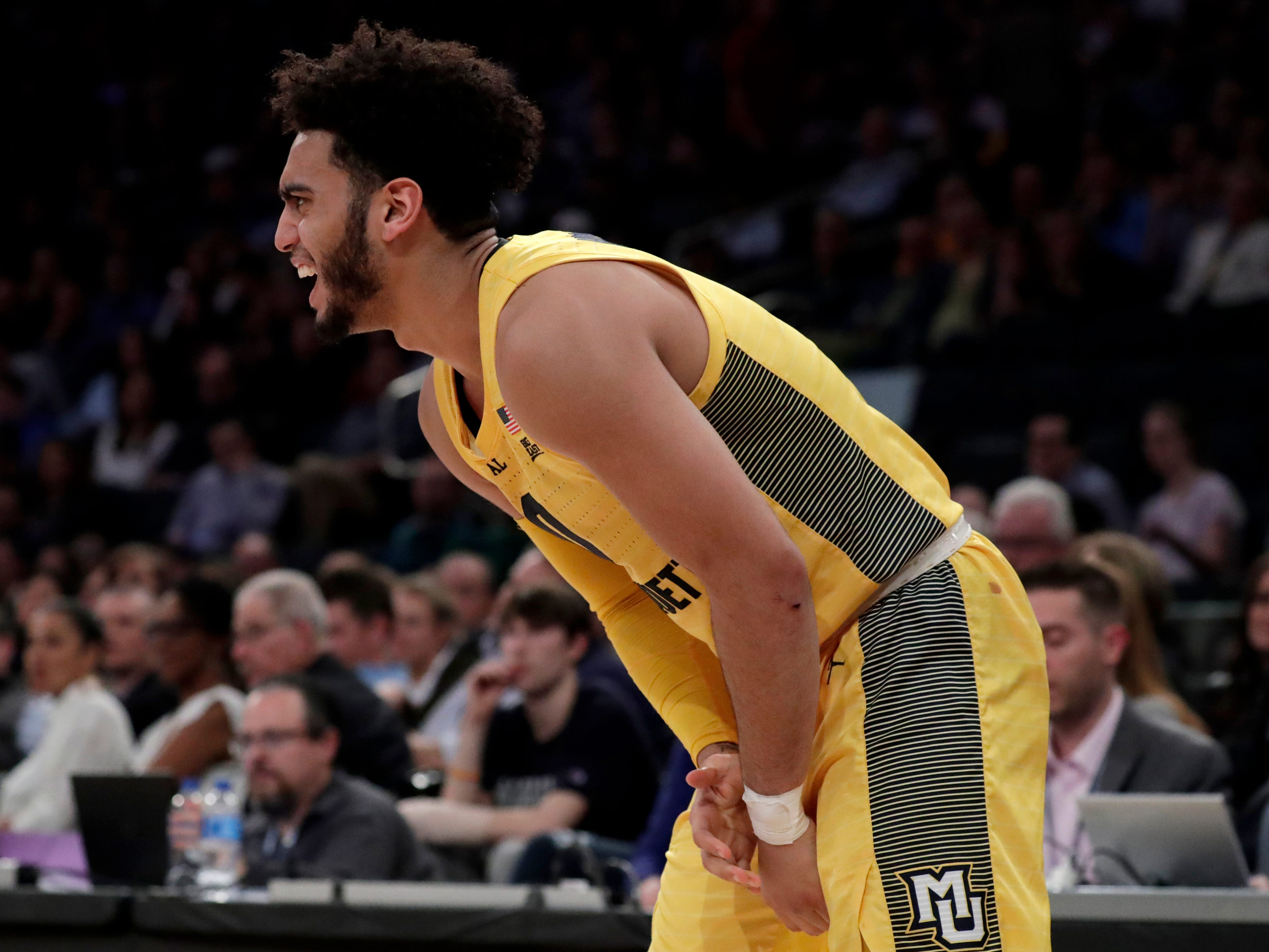 Marquette guard Markus Howard injures his wrist in the first half of the Big East tournament semifinals at Madison Square Garden in New York.