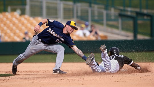 Brewers shortstop Brice Turang is late with a tag at second base on White Sox shortstop Tim Anderson during a spring training game March 7. Turang was the Brewers' No. 1 overall pick last June.