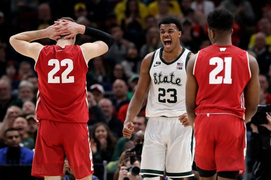 Michigan State's Xavier Tillman celebrates in the first half of the Spartans' victory over Wisconsin in the Big Ten tournament semifinals Saturday.