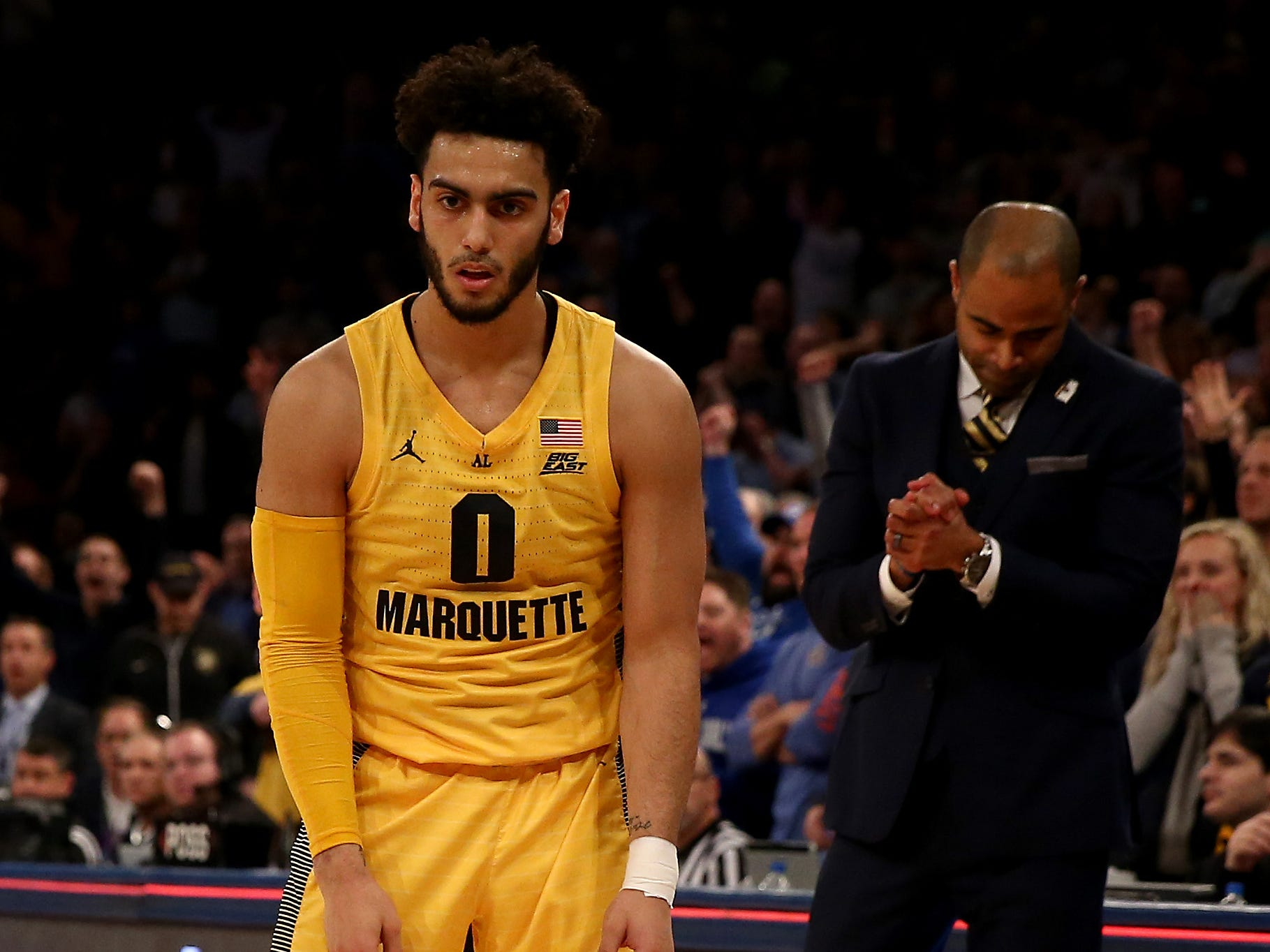 Markus Howard misses a shot in the final seconds and makes just 1 of 15 shots from the field on Friday night.
