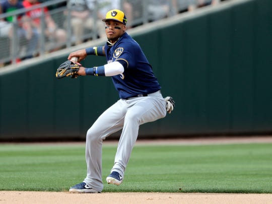 Orlando Arcia is a shortstop, but the Brewers regularly move him around the infield during defensive shifts.