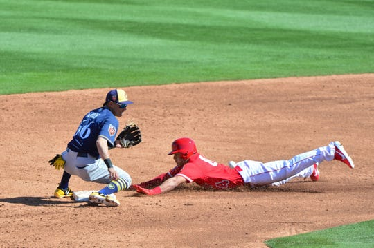Angels outfielder Michael Hermosillo steals second base on Mauricio Dubon during a spring training game in February. At the plate in 2018, Dubon was hitting .343 through 27 games with a 23-game hitting streak at Colorado Springs when he was injured.