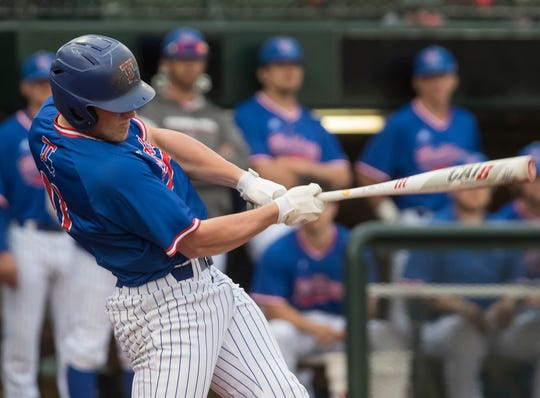 Louisiana Tech's Steele Netterville (11) follows through on a swing which resulted in a two run home run in the bottom of the second inning during the game against University of Southern Mississippi at J.C. Love field in Ruston, La. on March 15.