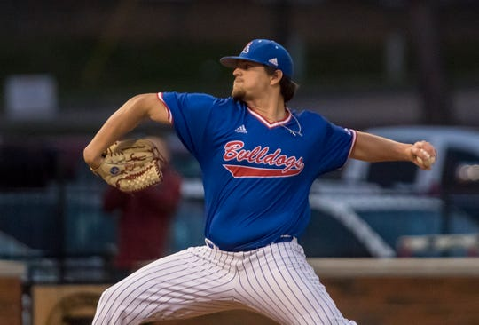 Louisiana Tech's Jonathan Fincher (47) winds up for a pitch during the game against University of Southern Mississippi at J.C. Love field in Ruston, La. on March 15.