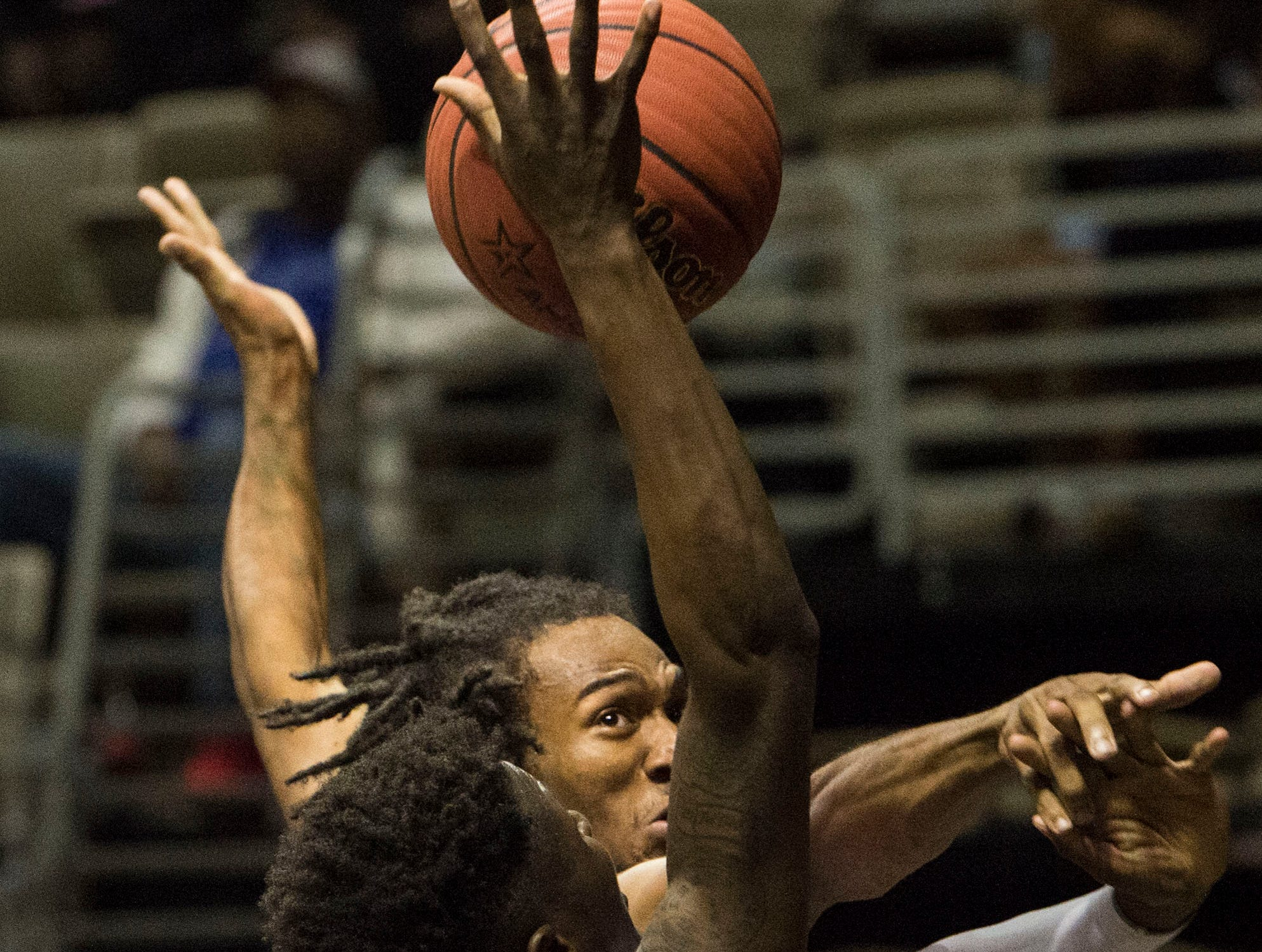 Alabama's Desmond Williams (10) is fouled as he goes up for a layup during the Alabama-Mississippi All-Star game at the Dunn-Oliver Acadome in Montgomery, Ala., on Friday, March 15, 2019. Mississippi All-stars leads the Alabama All-stars 47-39 at halftime.