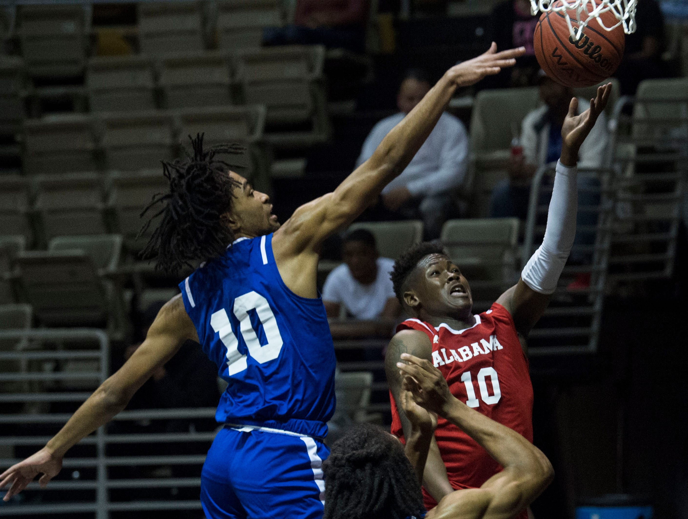 Alabama's Desmond Williams (10) goes up for a layup during the Alabama-Mississippi All-Star game at the Dunn-Oliver Acadome in Montgomery, Ala., on Friday, March 15, 2019. Mississippi All-stars leads the Alabama All-stars 47-39 at halftime.