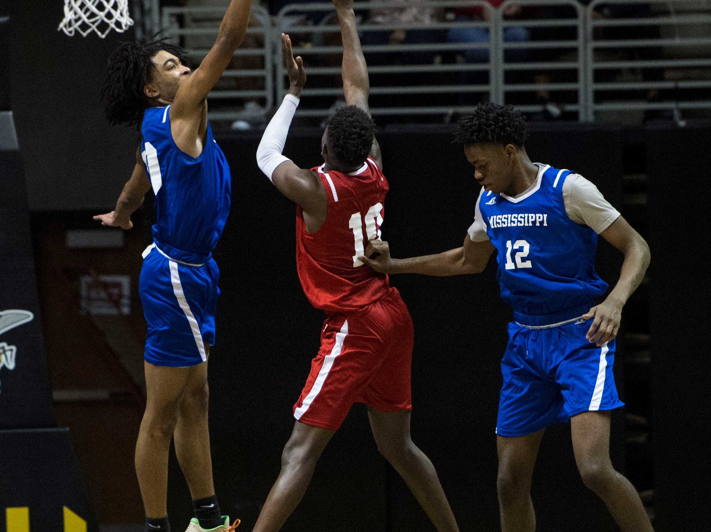Alabama's Desmond Williams (10) goes up for a layup during the Alabama-Mississippi All-Star game at the Dunn-Oliver Acadome in Montgomery, Ala., on Friday, March 15, 2019. Alabama All-stars defeated the Mississippi All-stars 107-90.