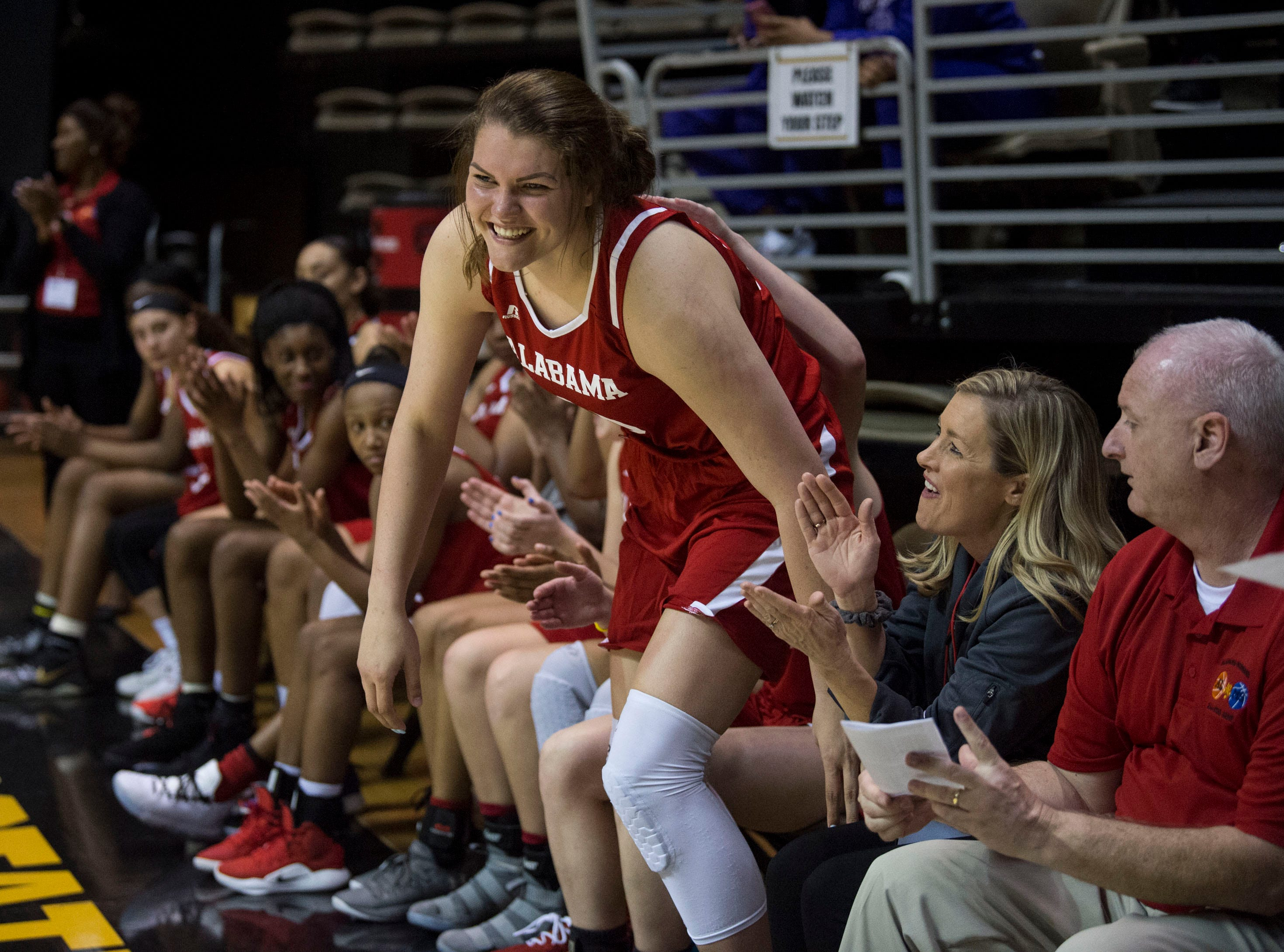 Alabama's River Baldwin (30) is announced as the Alabama teams MVP during the Alabama-Mississippi All-Star game at the Dunn-Oliver Acadome in Montgomery, Ala., on Friday, March 15, 2019. Alabama All-stars defeated the Mississippi All-stars 101-82.