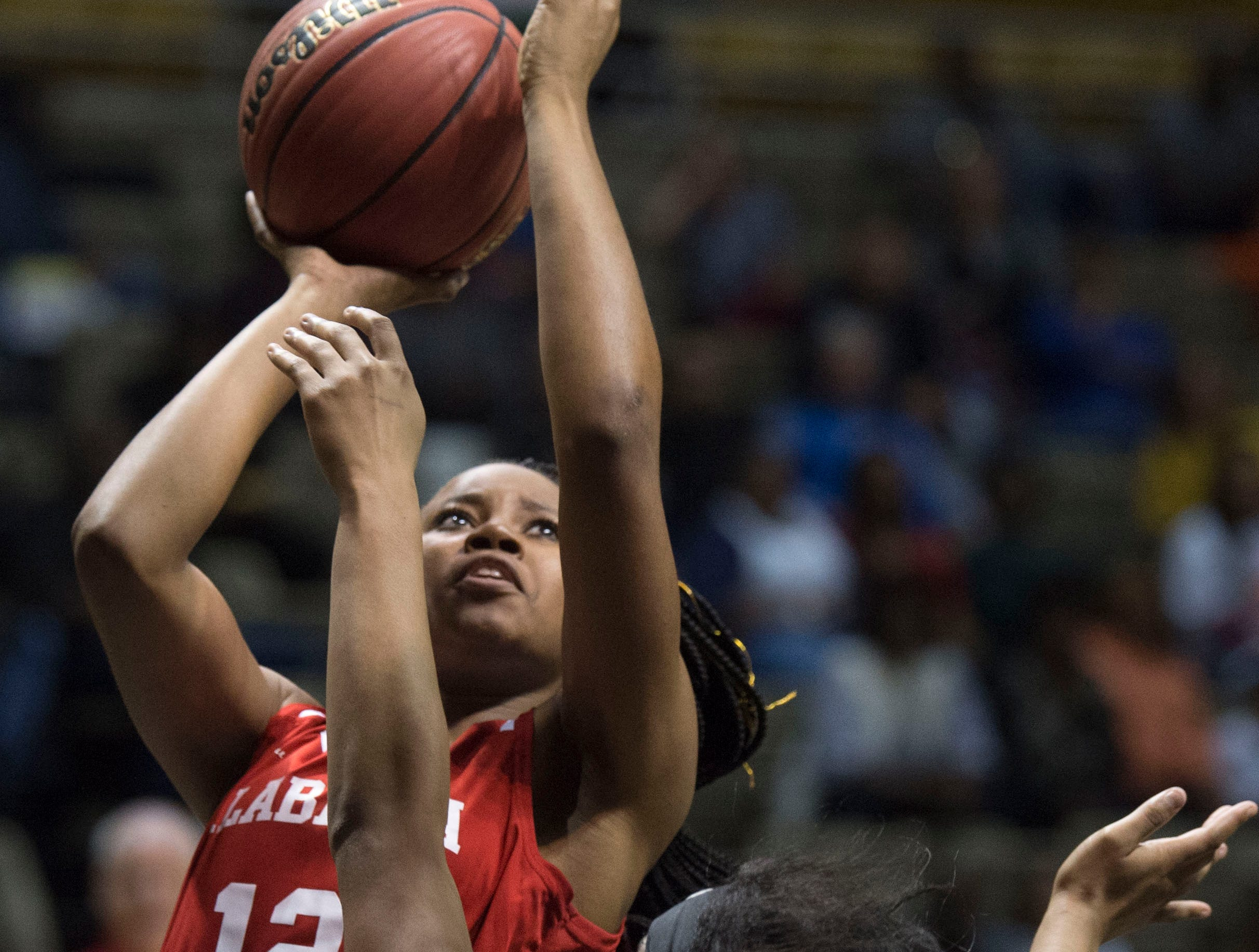 Alabama's Aniyah Smith (12) goes up for a layup during the Alabama-Mississippi All-Star game at the Dunn-Oliver Acadome in Montgomery, Ala., on Friday, March 15, 2019. Alabama All-stars defeated the Mississippi All-stars 101-82.