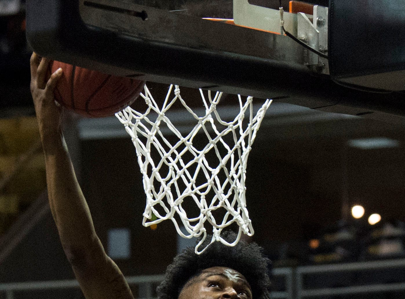Alabama's DeAntoni Gordon (12) goes up for a layup during the Alabama-Mississippi All-Star game at the Dunn-Oliver Acadome in Montgomery, Ala., on Friday, March 15, 2019. Alabama All-stars defeated the Mississippi All-stars 107-90.