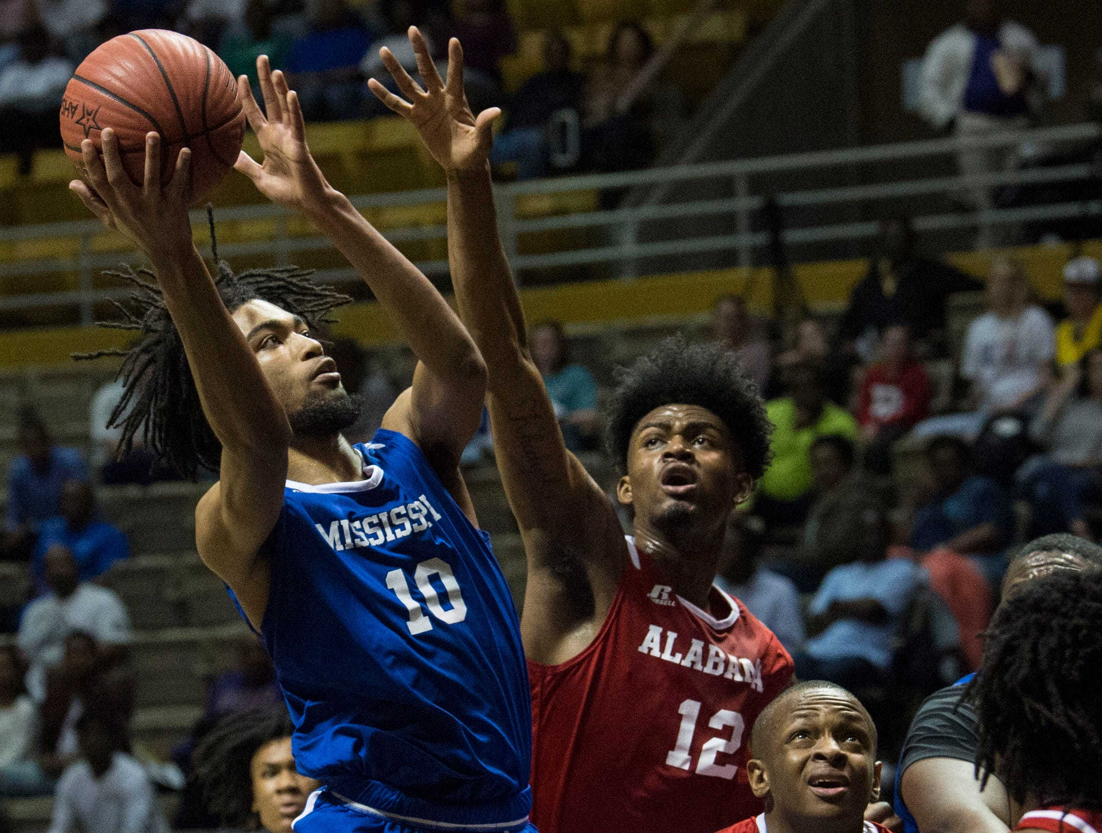 Mississippi's Vontrell Pringle (10) goes up for a layup during the Alabama-Mississippi All-Star game at the Dunn-Oliver Acadome in Montgomery, Ala., on Friday, March 15, 2019. Mississippi All-stars leads the Alabama All-stars 47-39 at halftime.