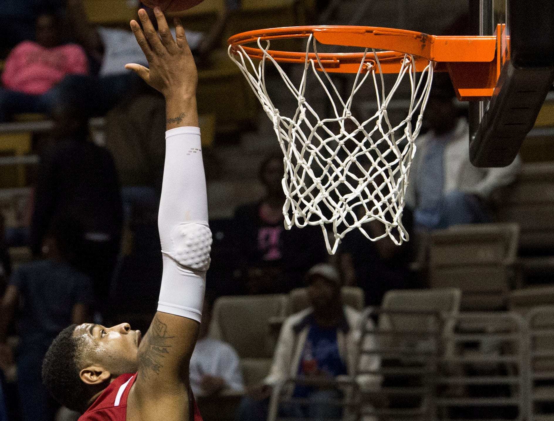 Alabama's Demond Robinson (22) goes up for a layup during the Alabama-Mississippi All-Star game at the Dunn-Oliver Acadome in Montgomery, Ala., on Friday, March 15, 2019. Mississippi All-stars leads the Alabama All-stars 47-39 at halftime.